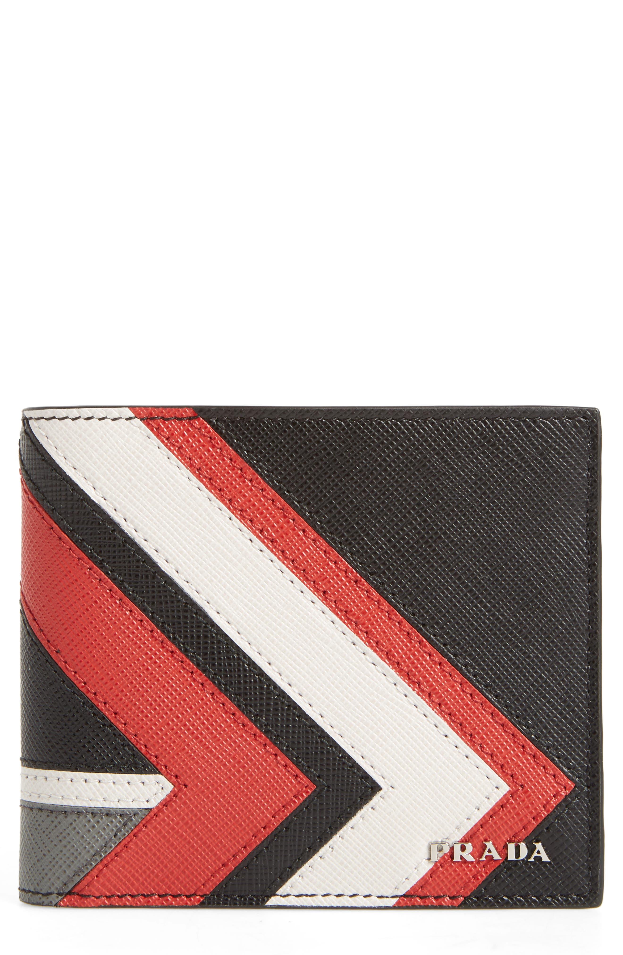 Prada Arrow Calfskin Leather Wallet
