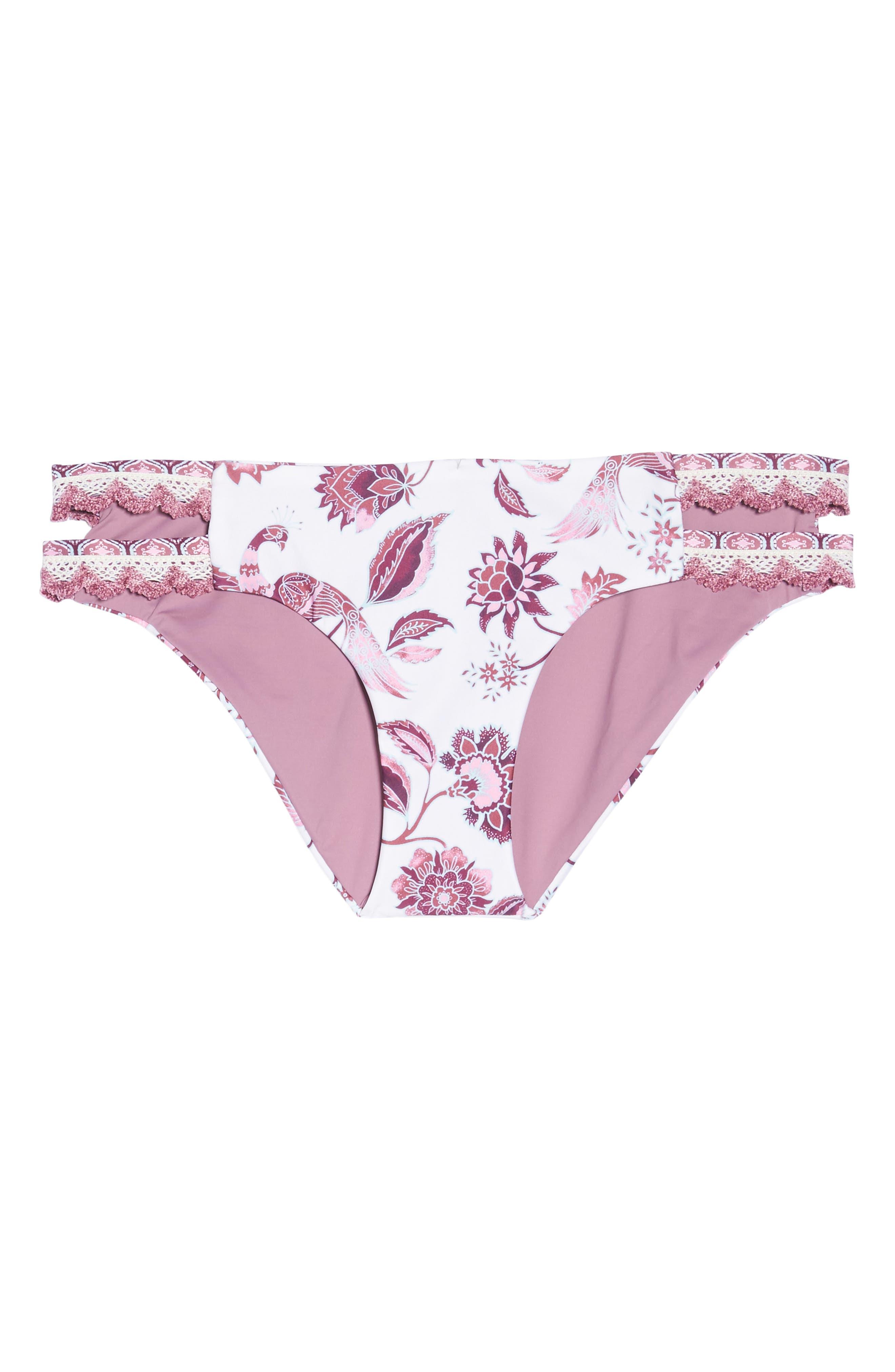 Tahiti Split Tab Hipster Bikini Bottoms,                             Alternate thumbnail 7, color,                             White/ Pink Multi