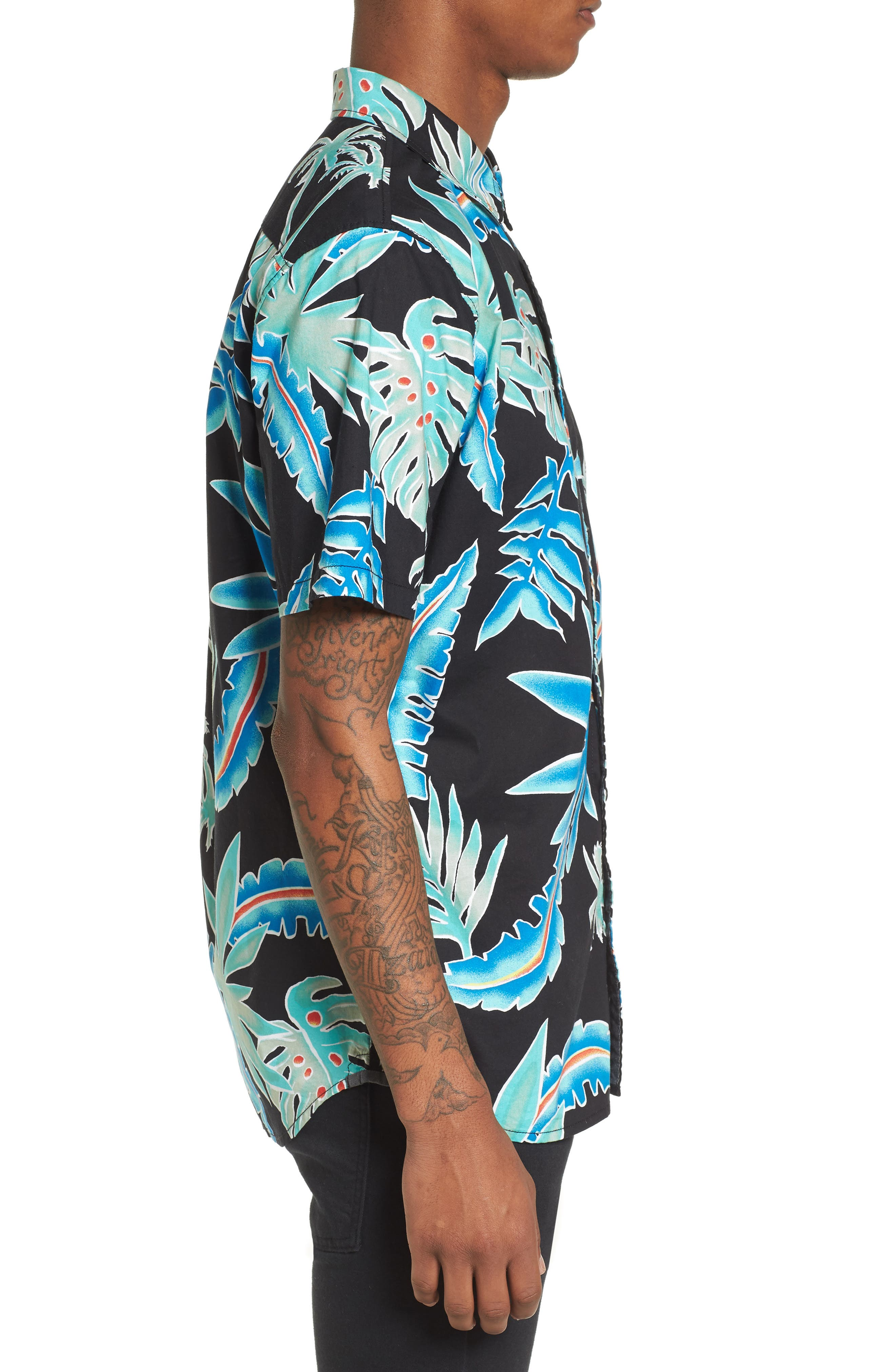 Pit Stop Woven Shirt,                             Alternate thumbnail 4, color,                             Black Pit Stop Floral