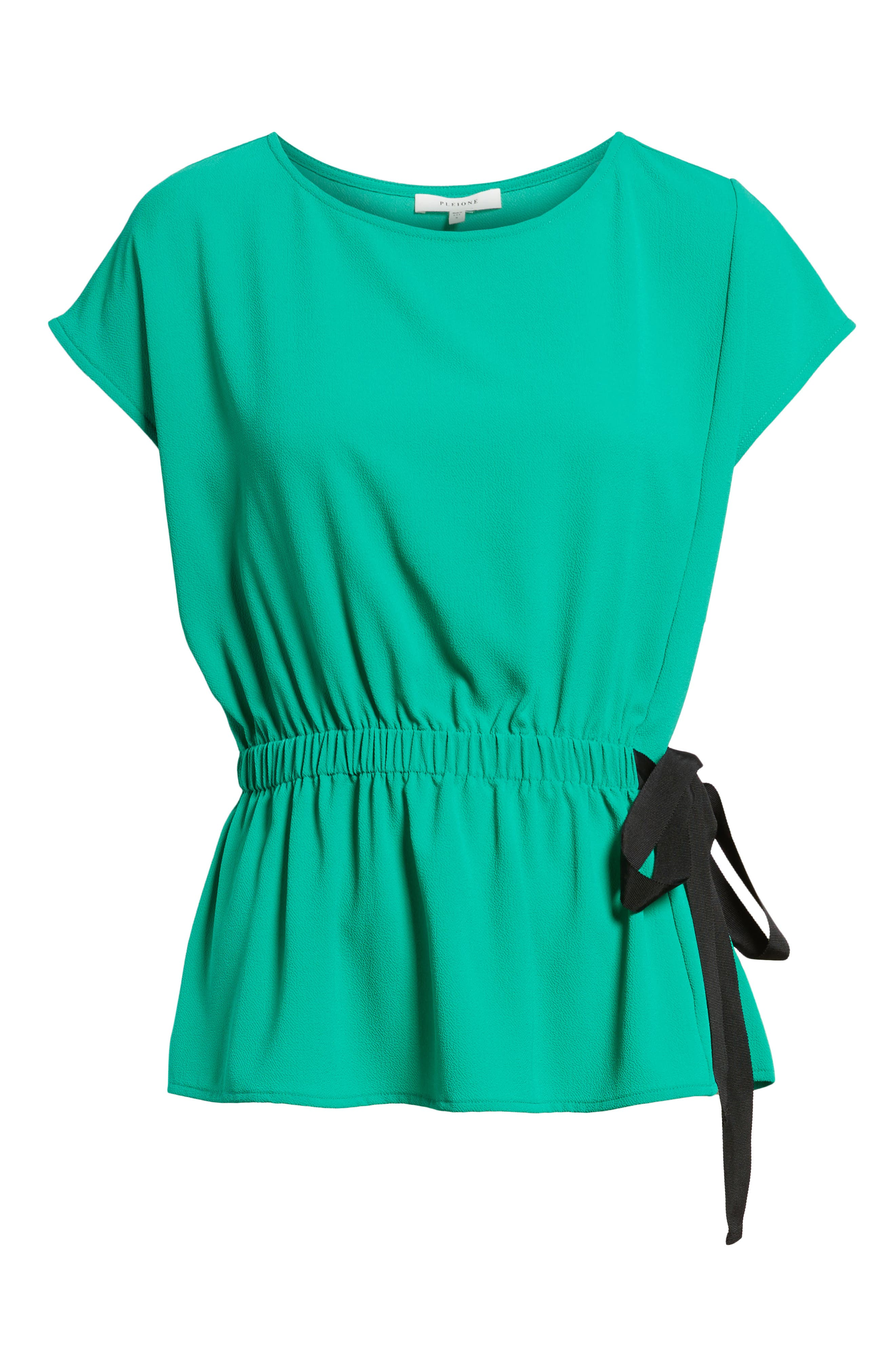 Gathered Waist Side Tie Top,                             Alternate thumbnail 6, color,                             Kelly Green With Black Tie