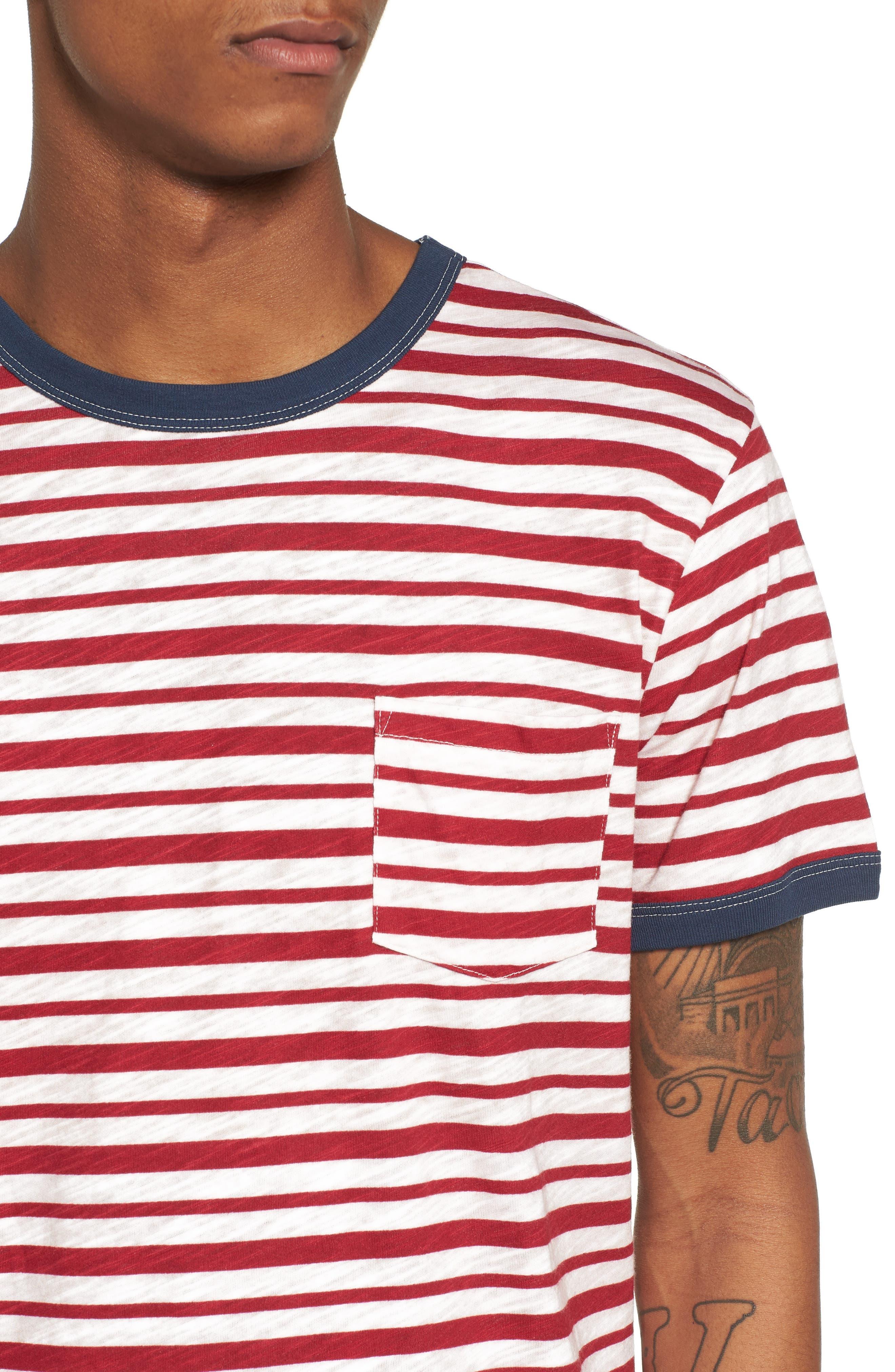 Slub Stripe Ringer T-Shirt,                             Alternate thumbnail 4, color,                             Ivory Red Stripe