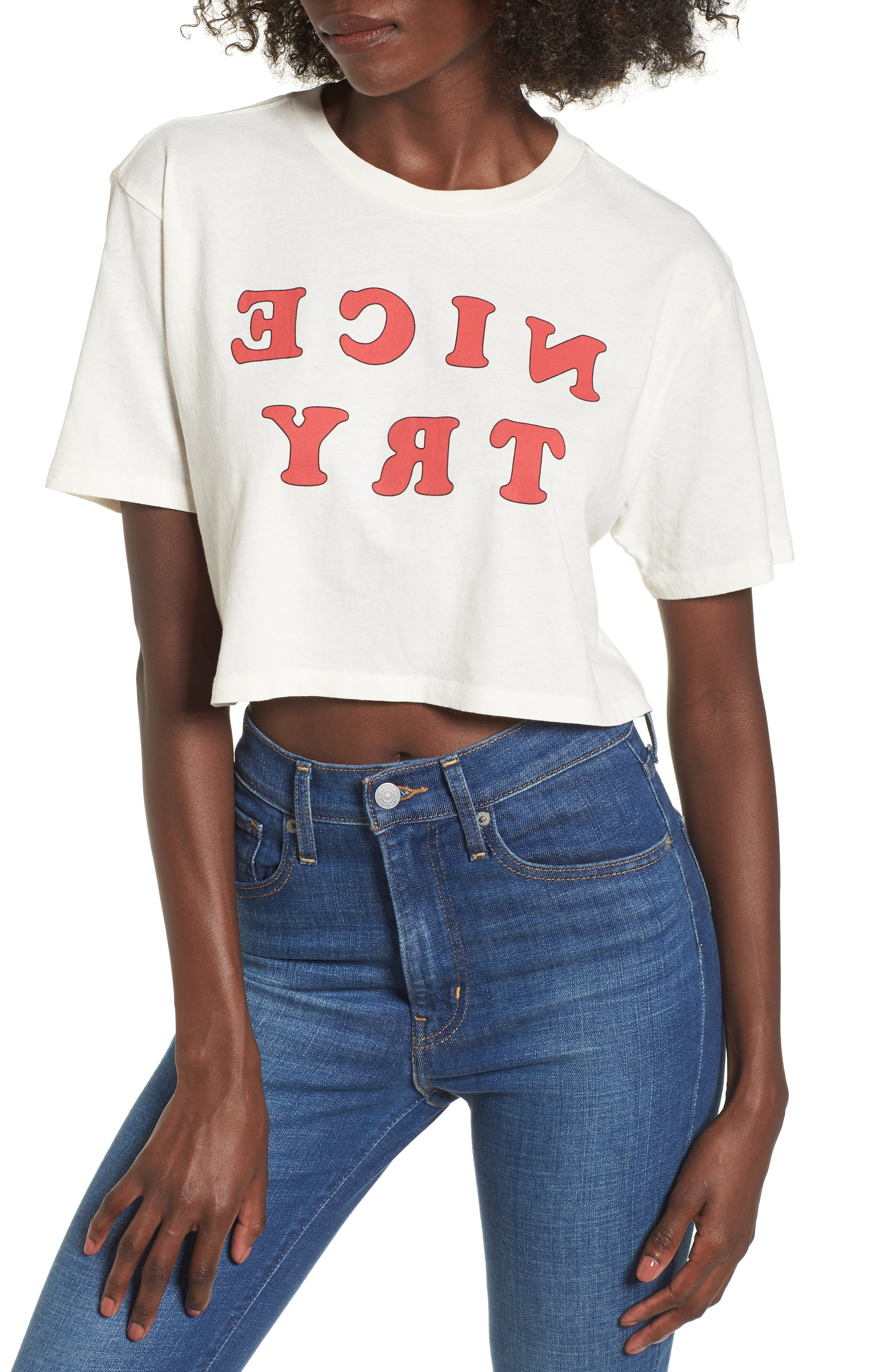 Nice Try Crop Tee,                         Main,                         color, Washed Ivory