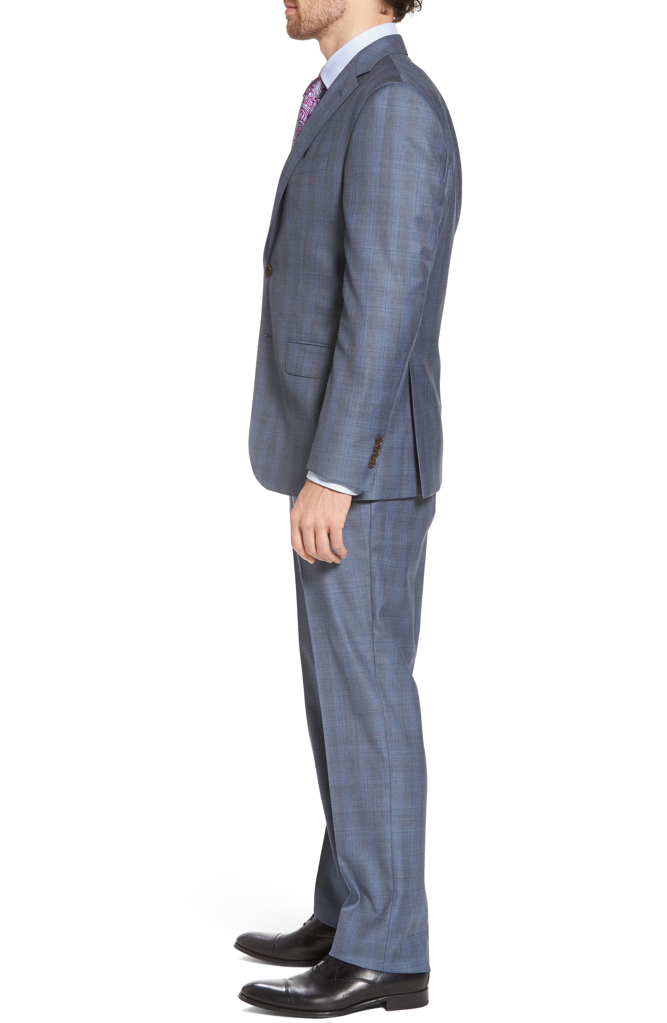 Ryan Classic Fit Plaid Wool Suit,                             Alternate thumbnail 3, color,                             Grey