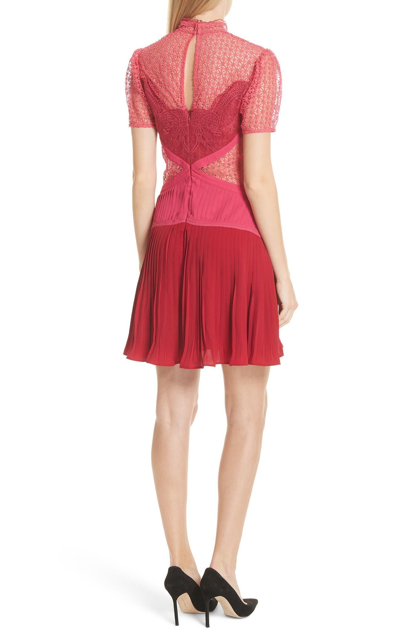 Paneled Lace Dress,                             Alternate thumbnail 2, color,                             Rasberry Red