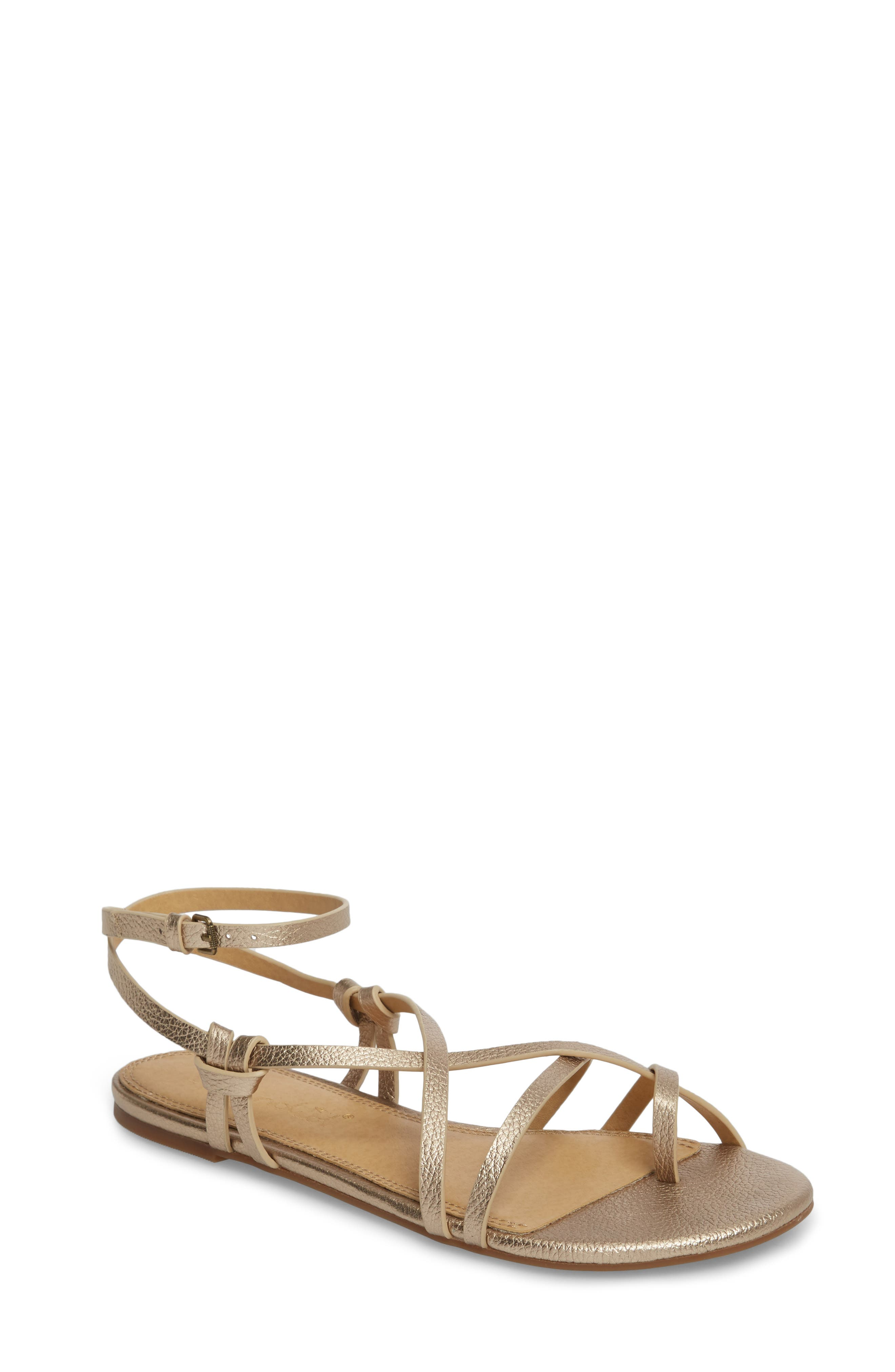 Flynn Flat Sandal,                         Main,                         color, Champagne Leather