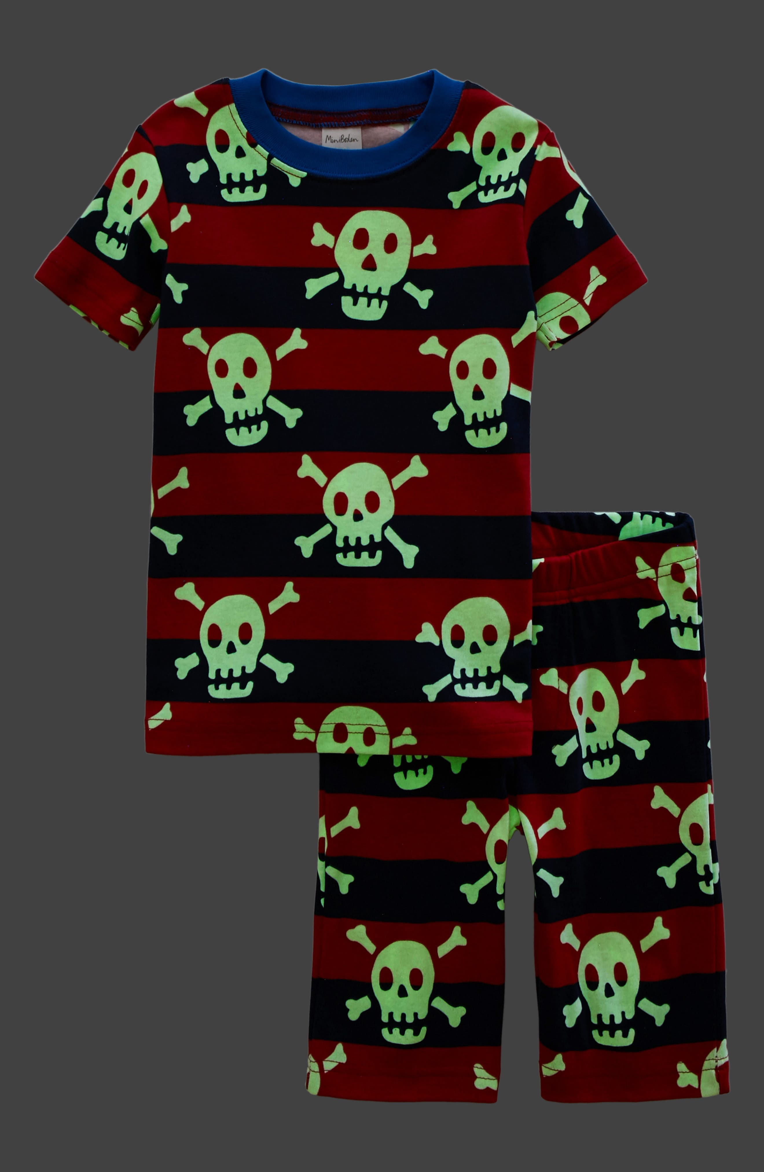 Glow in the Dark Fitted Two-Piece Pajamas,                             Alternate thumbnail 2, color,                             Salsa Red/School Navy