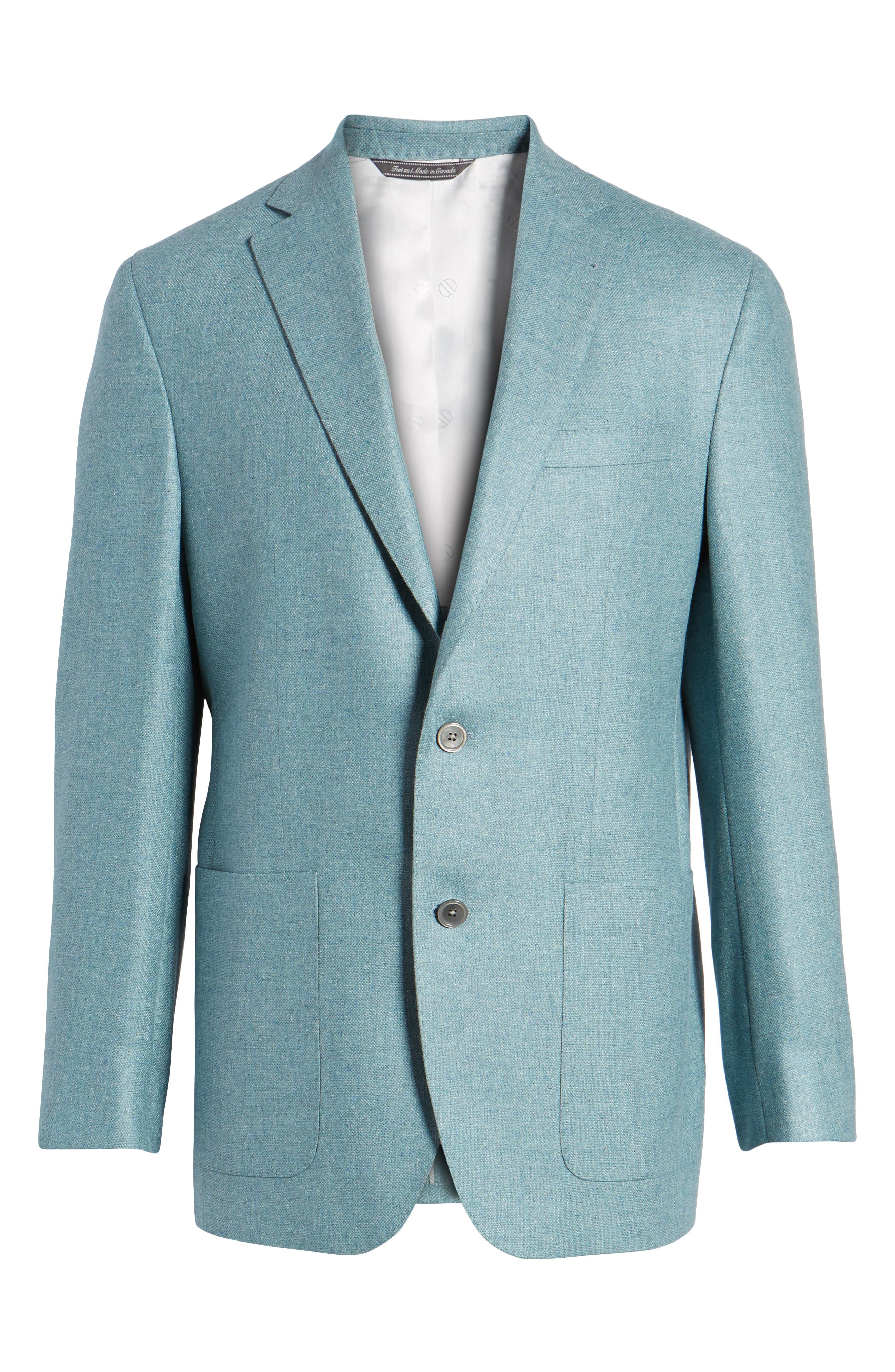 Aiden Classic Fit Silk & Wool Blazer,                             Alternate thumbnail 6, color,                             Teal