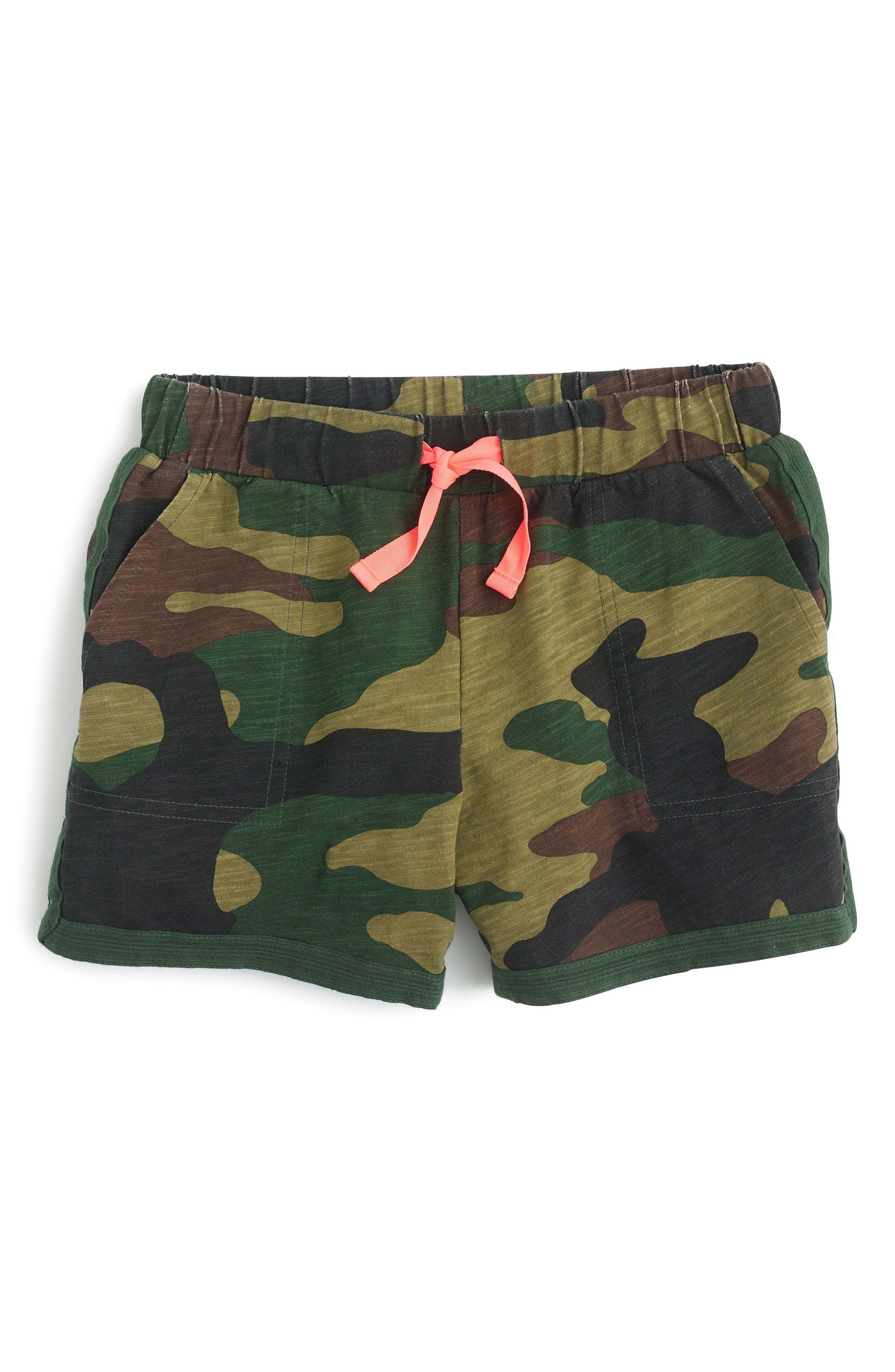 Ester Camo Cotton Shorts,                             Main thumbnail 1, color,                             Woodland Camo