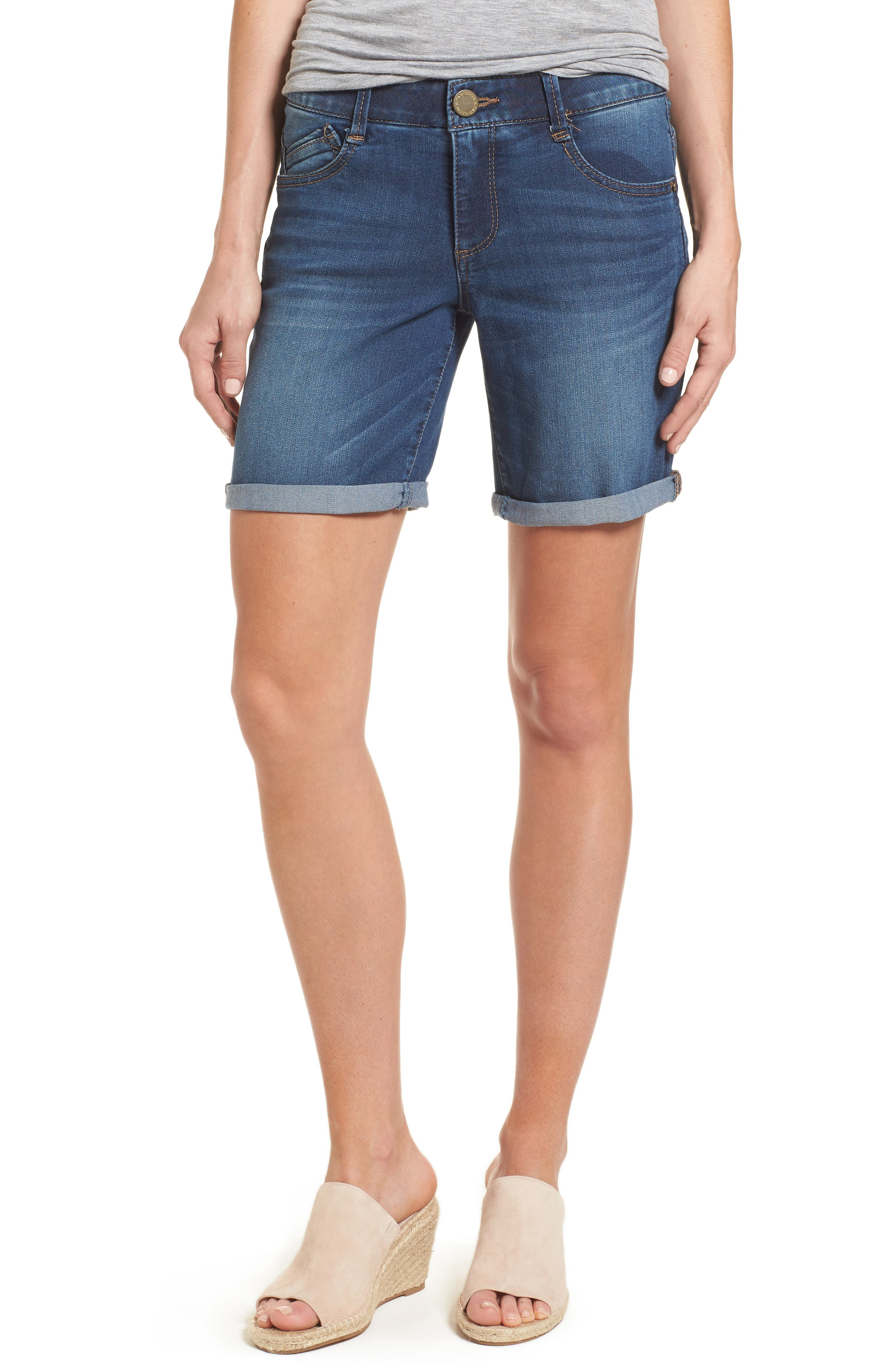 Ab-solution Cuffed Denim Shorts,                             Main thumbnail 1, color,                             Blue