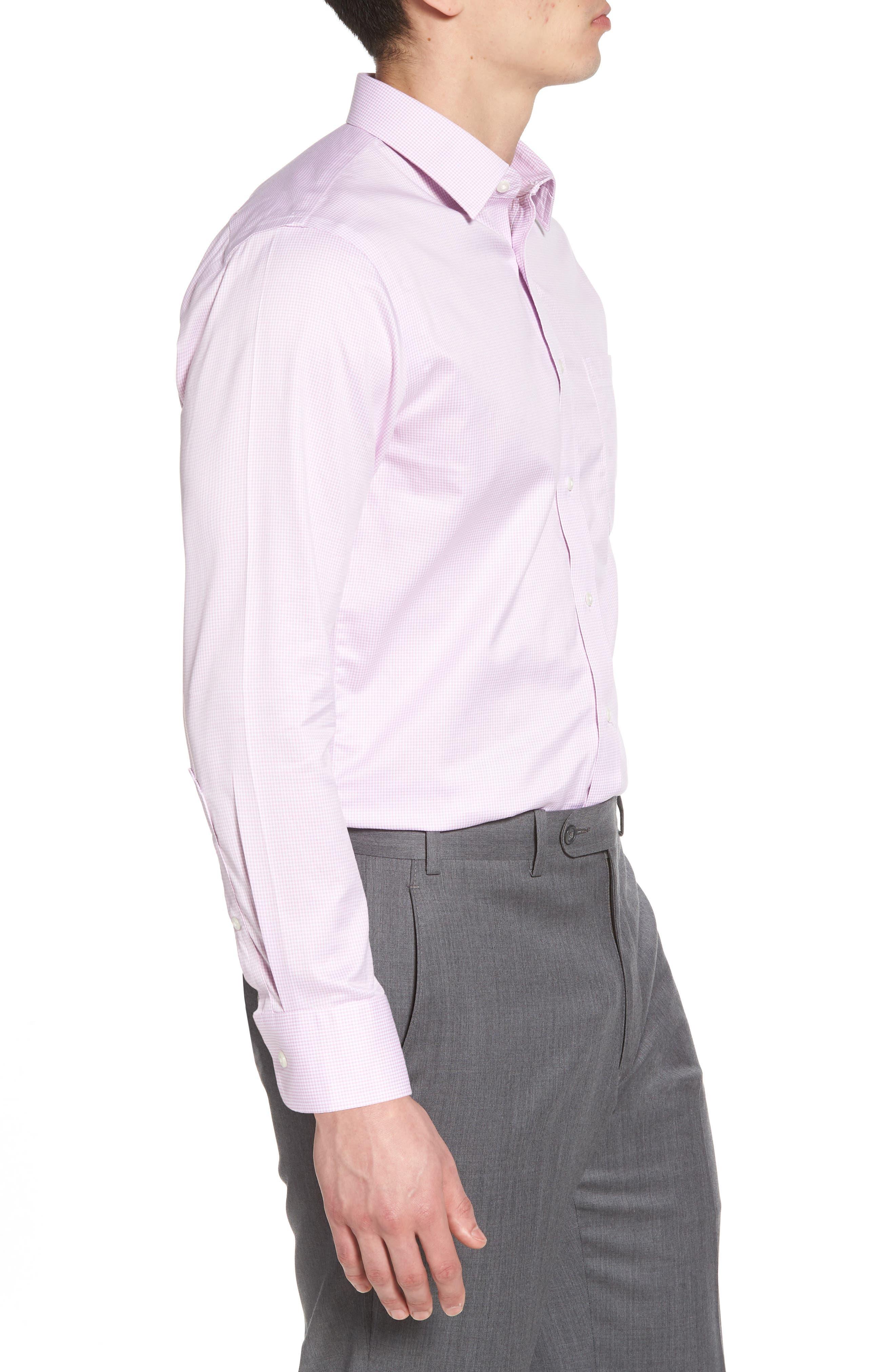 Smartcare<sup>™</sup> Trim Fit Stripe Dress Shirt,                             Alternate thumbnail 4, color,                             Pink Pastel