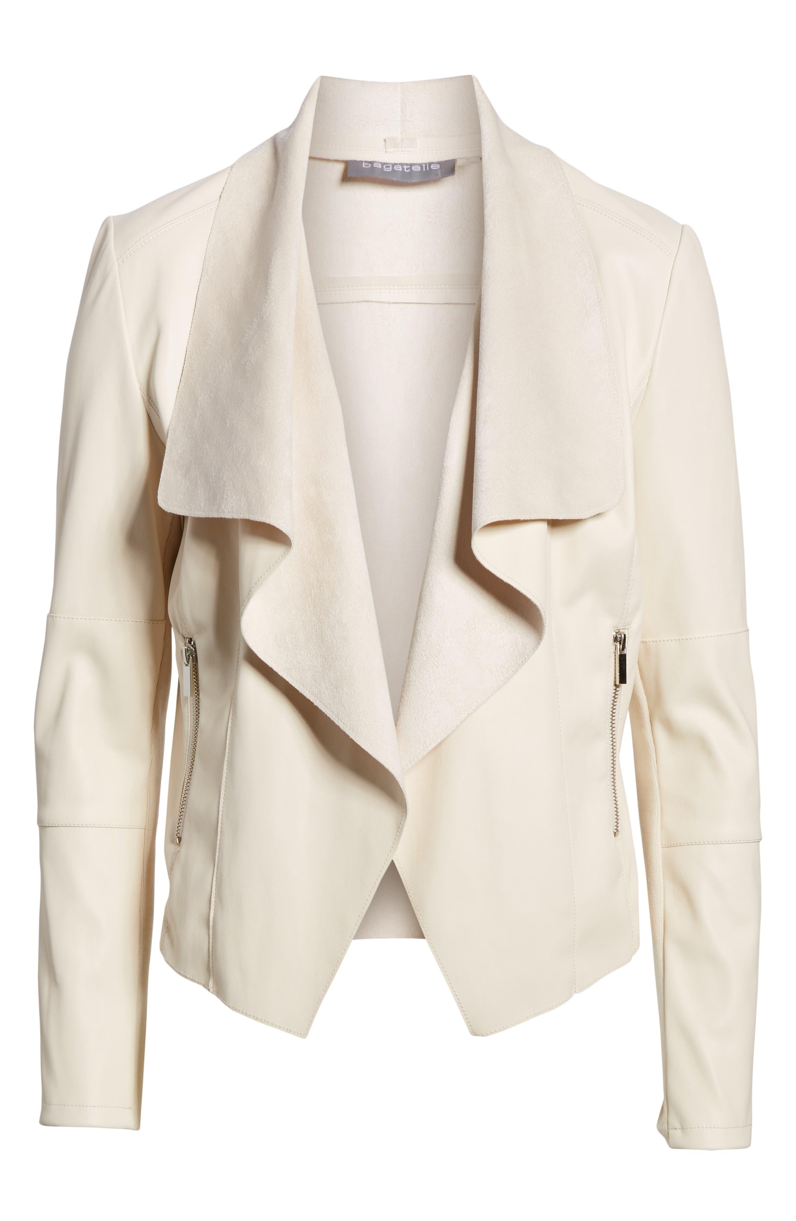 Drape Faux Leather & Faux Suede Jacket,                             Main thumbnail 1, color,                             Cream