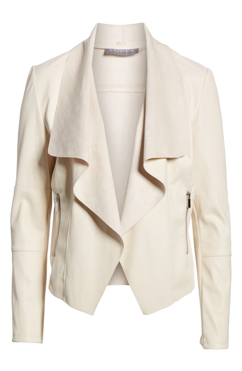 Drape Faux Leather  Faux Suede Jacket