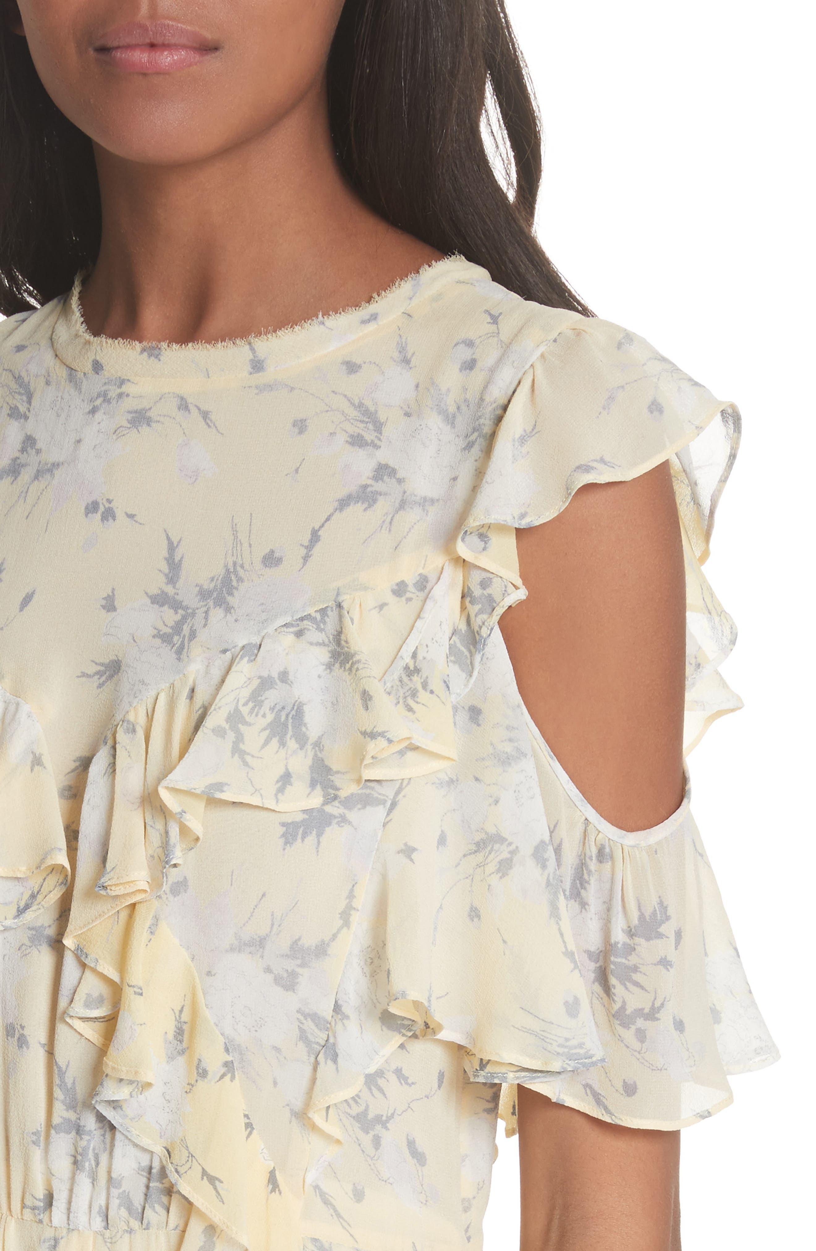 Cold Shoulder Lemon Rose Silk Dress,                             Alternate thumbnail 4, color,                             Lemon Combo