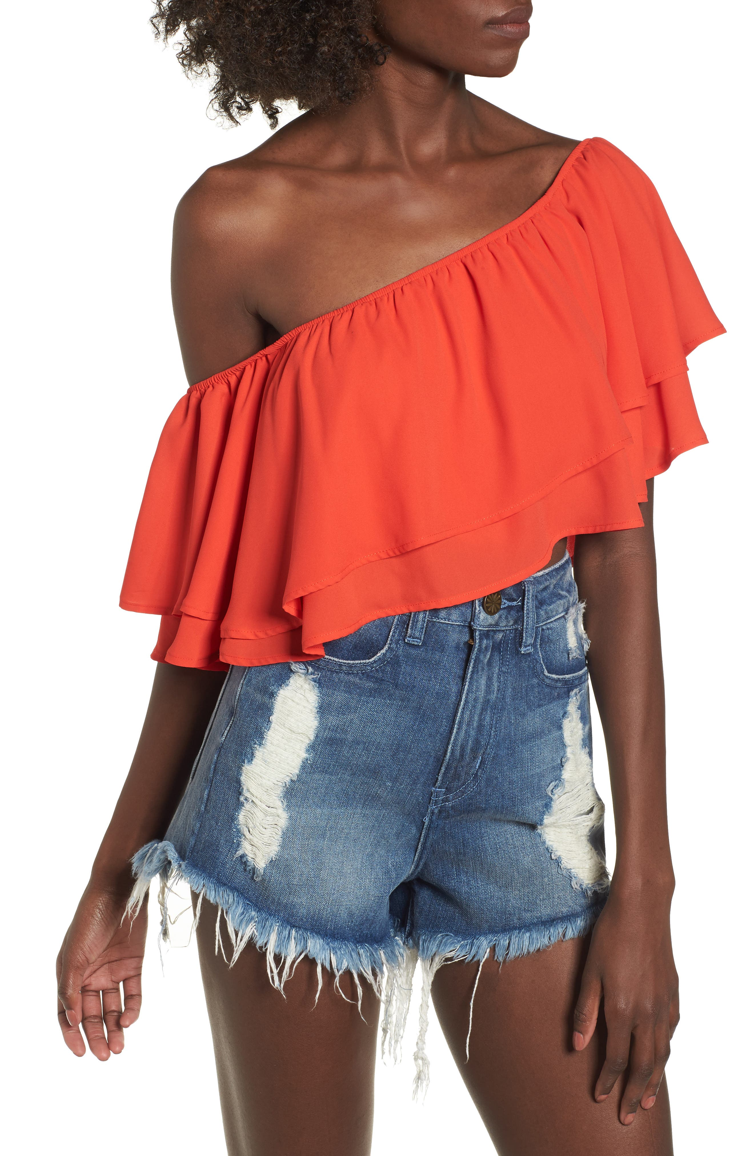 Hayworth Asymmetrical Ruffle Crop Top,                             Main thumbnail 1, color,                             Tequila Sunrise