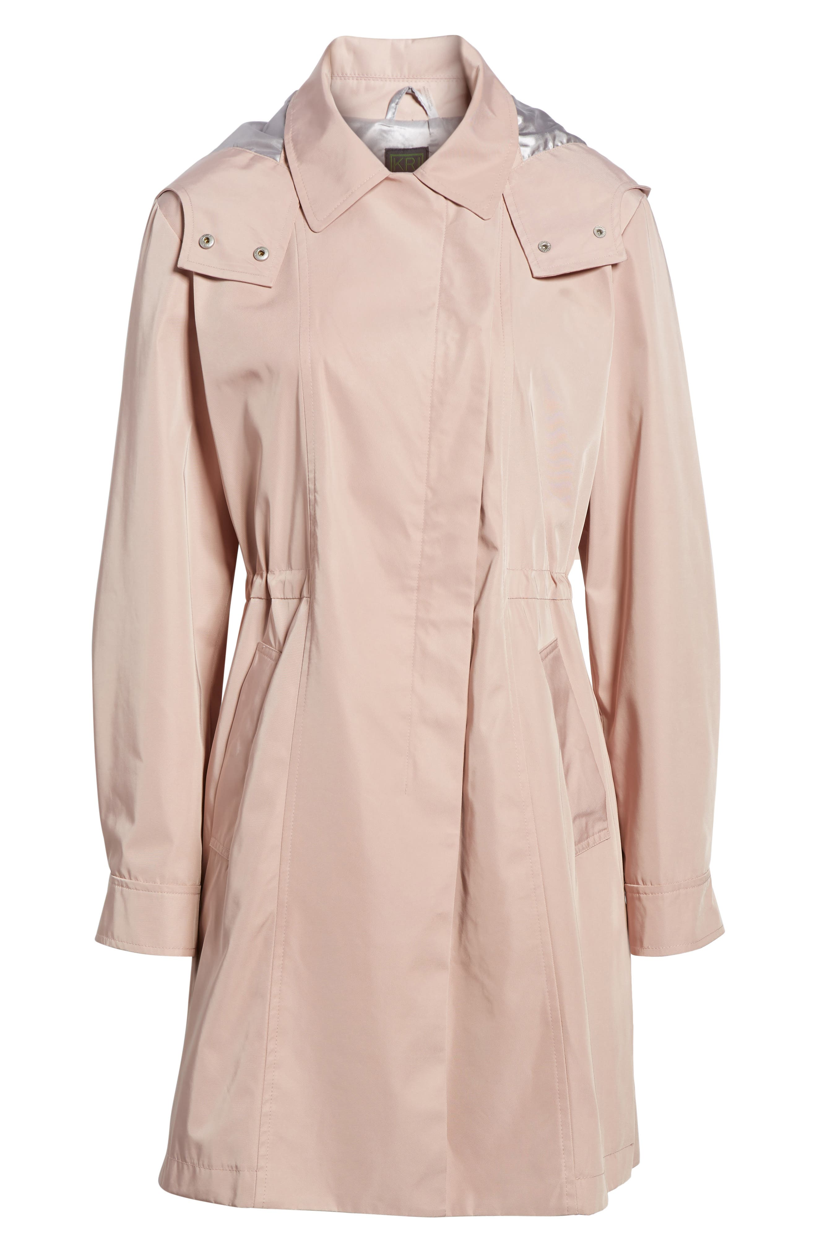 Tech Hooded Trench Coat,                             Alternate thumbnail 6, color,                             Misty Rose