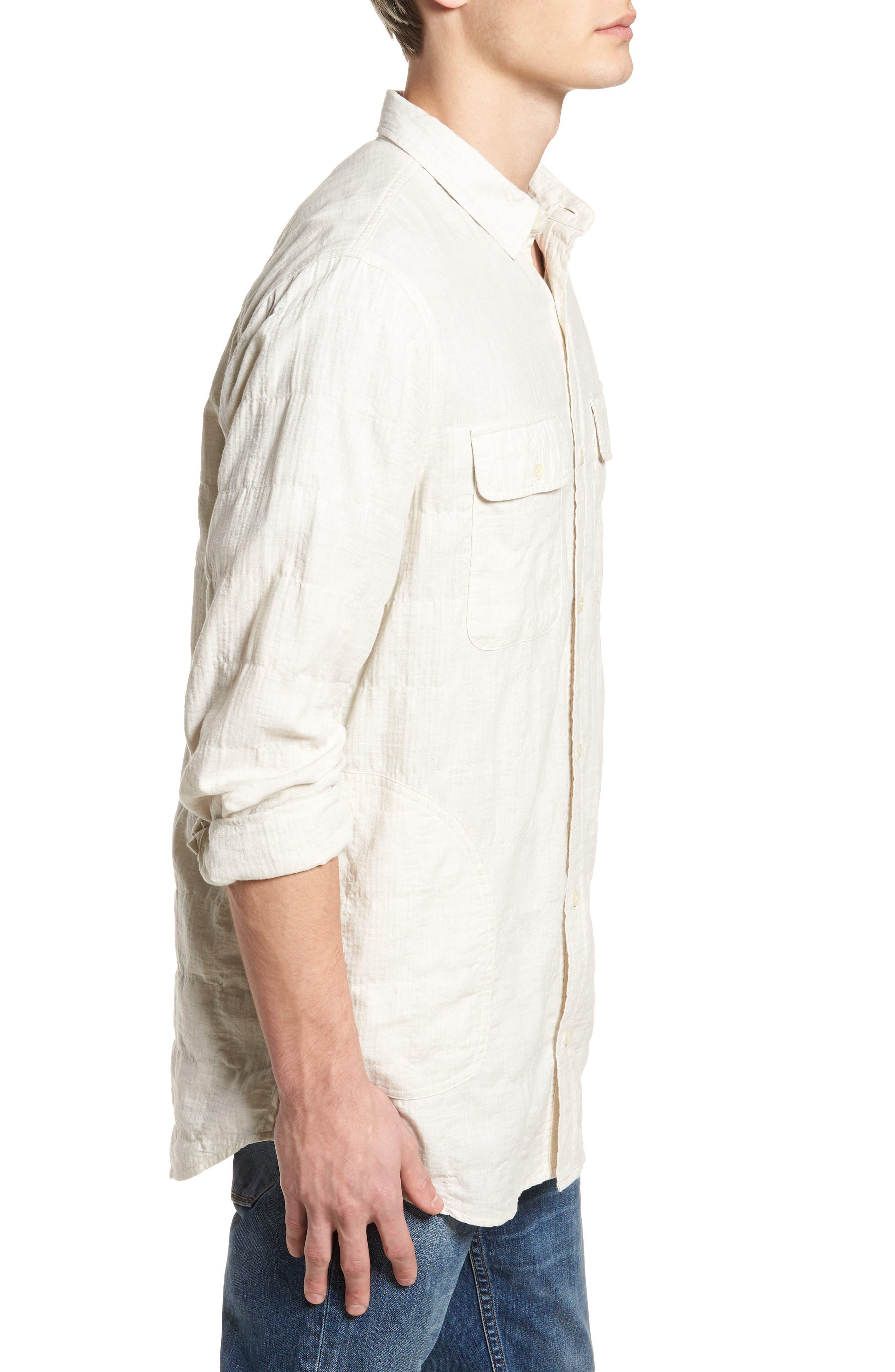 Herringbone Longline Shirt,                             Alternate thumbnail 4, color,                             Ivory Egret Herringbone
