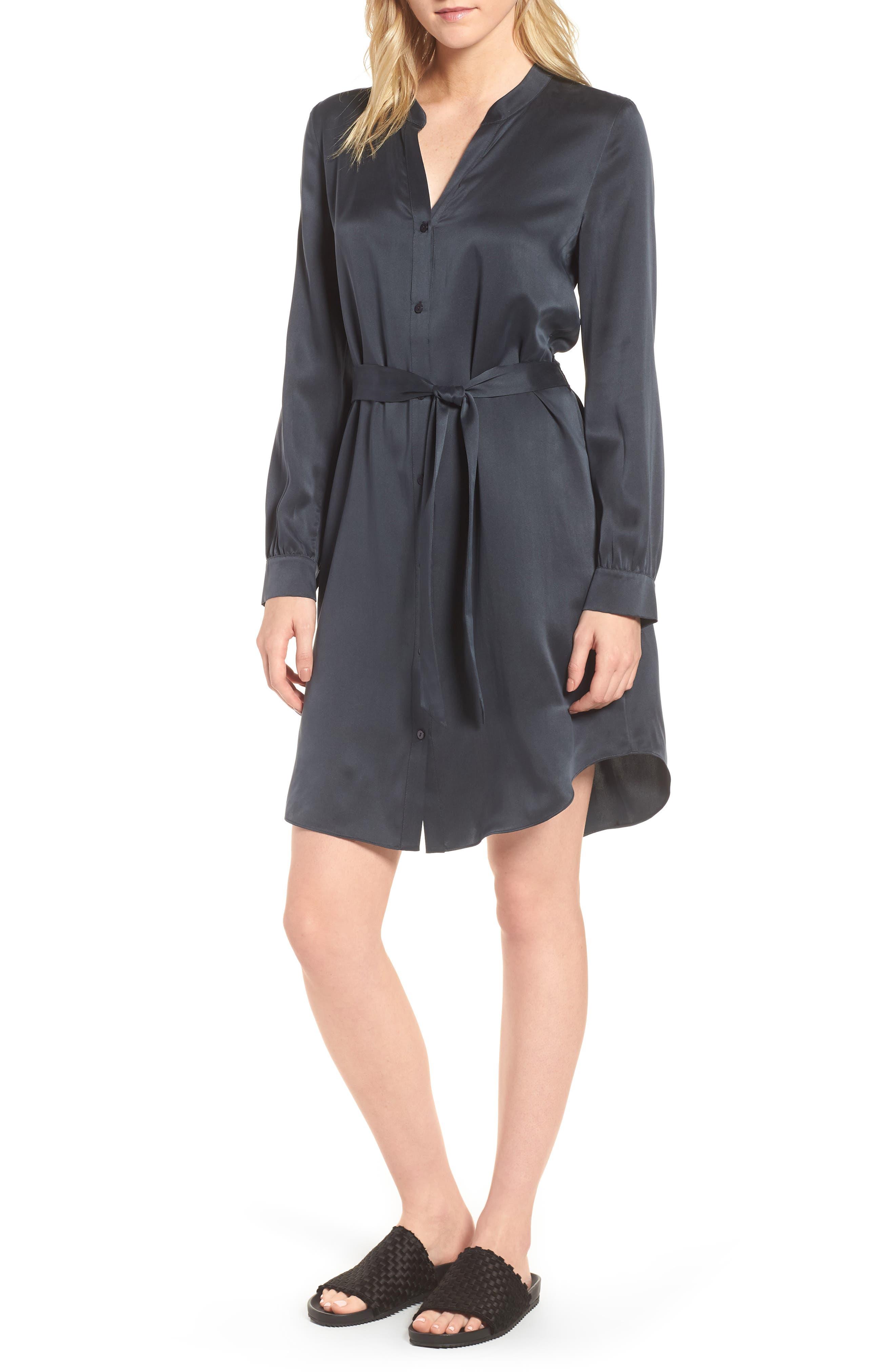 Silk Shirtdress,                         Main,                         color, Graphite