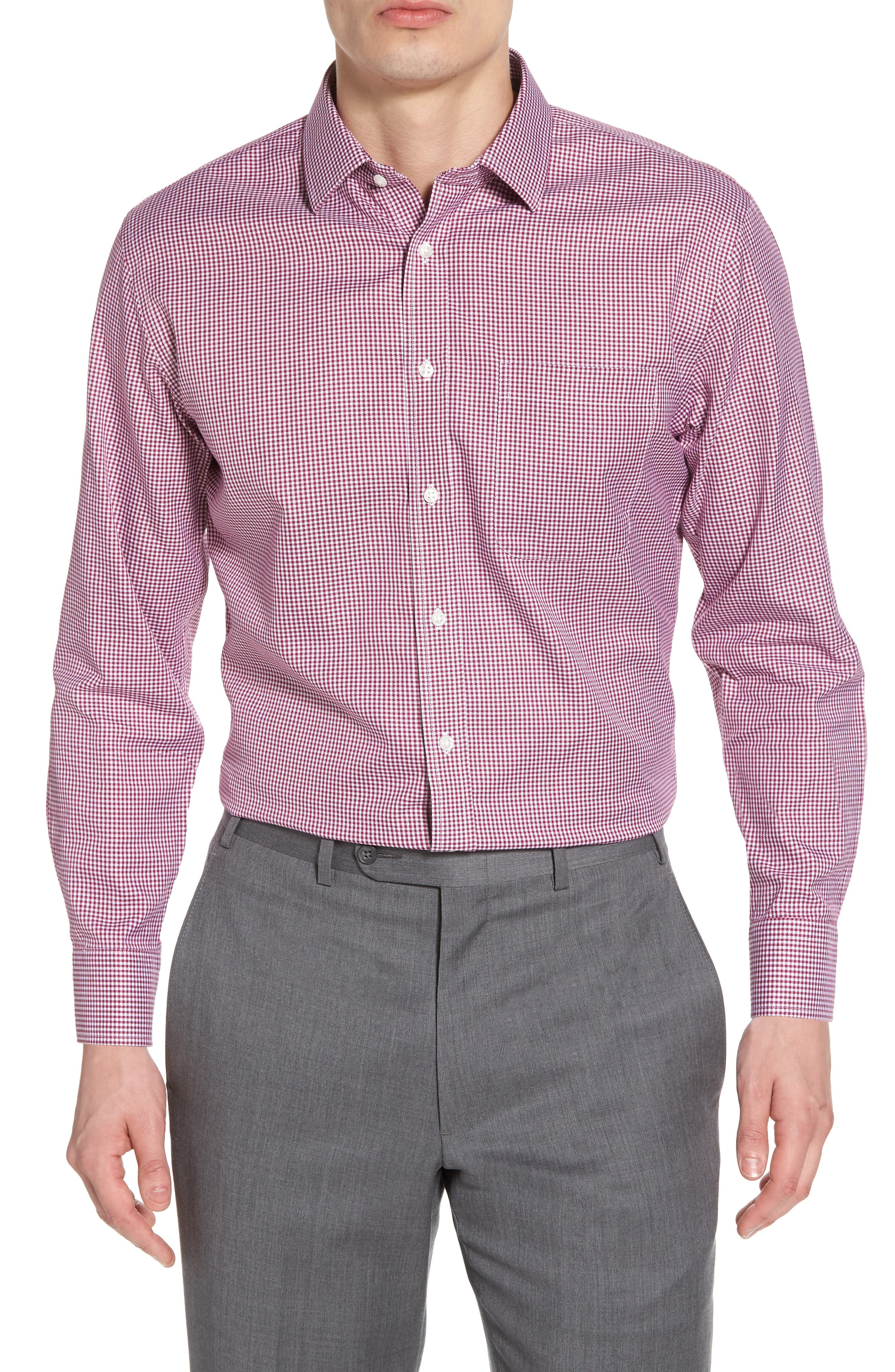 Smartcare<sup>™</sup> Trim Fit Mini Check Dress Shirt,                         Main,                         color, Purple Boysen