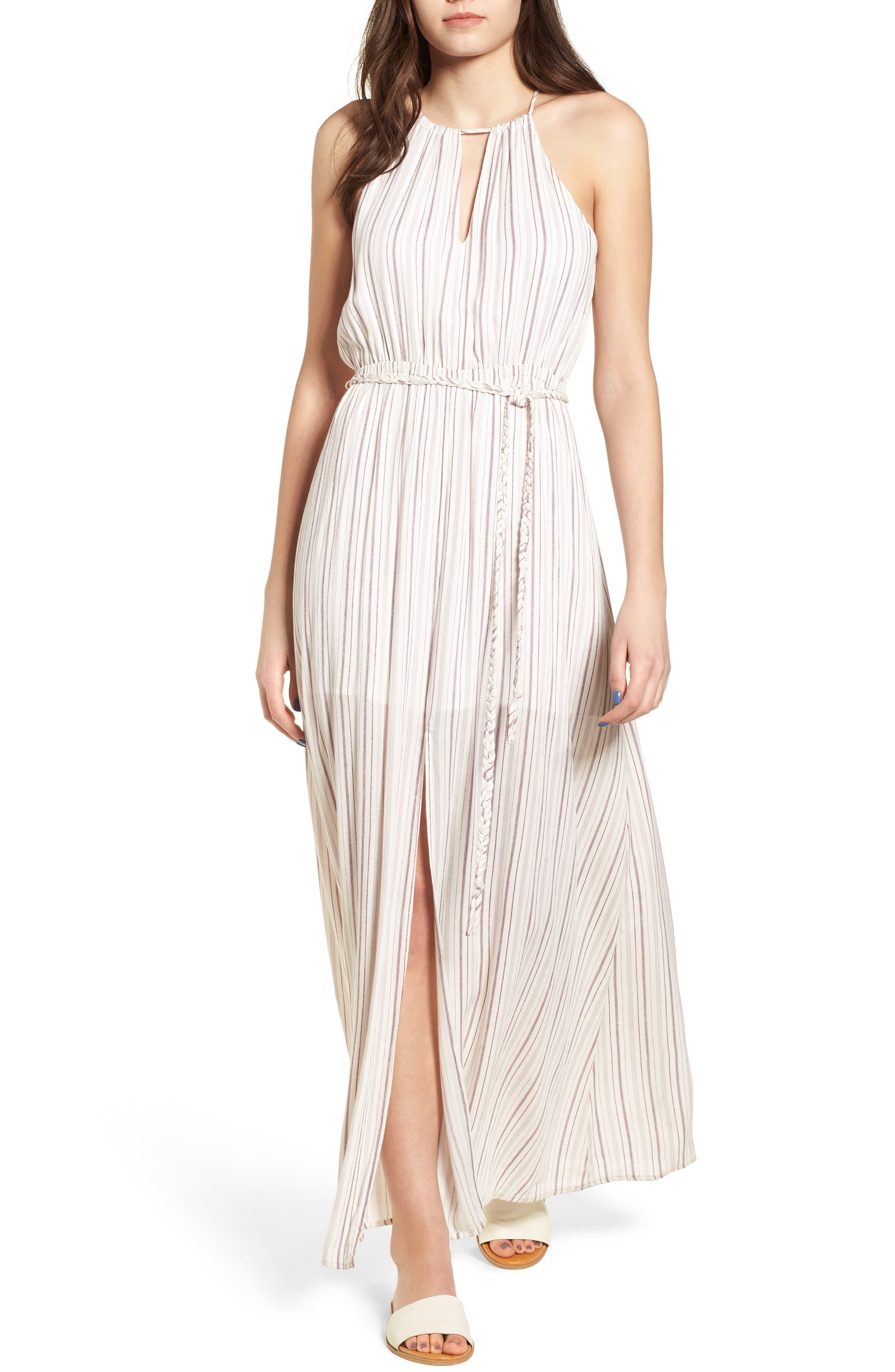 Daydreamer Stripe Maxi Dress,                             Main thumbnail 1, color,                             Ivory/ Mauve
