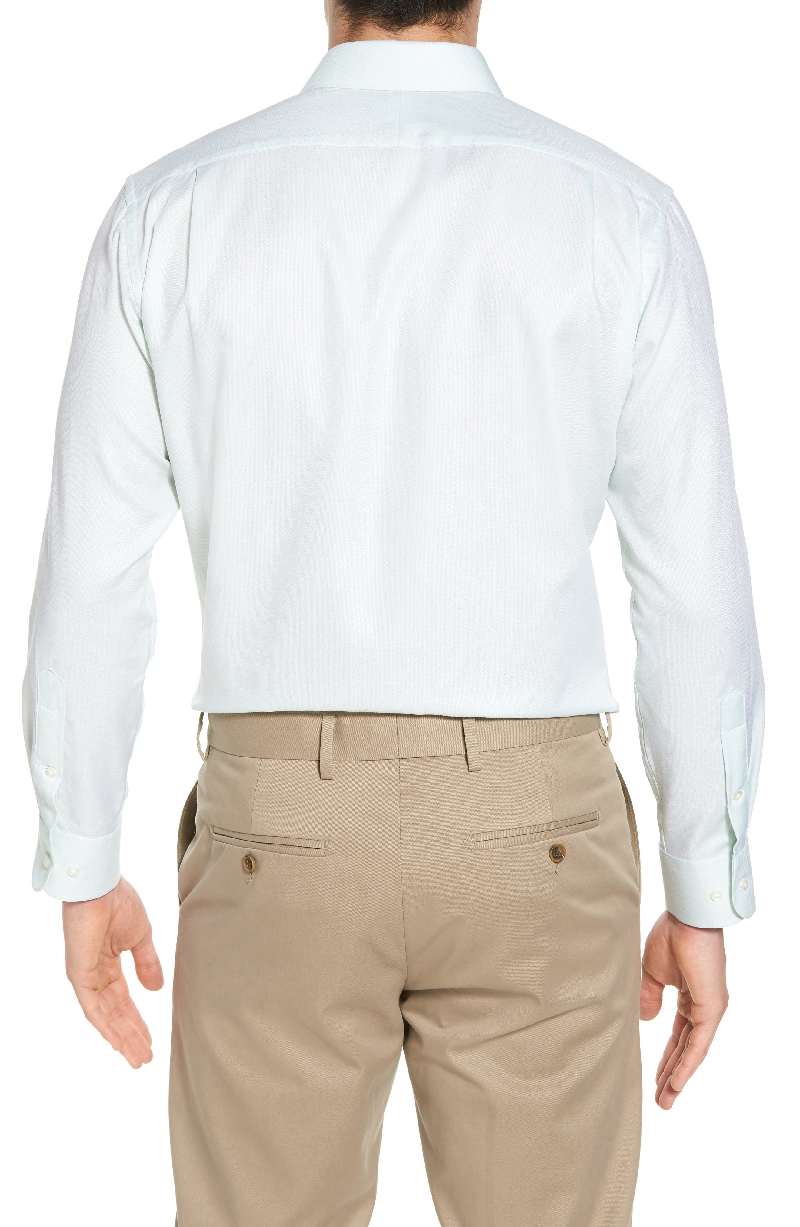 Trim Fit Solid Dress Shirt,                             Alternate thumbnail 3, color,                             Green Screen