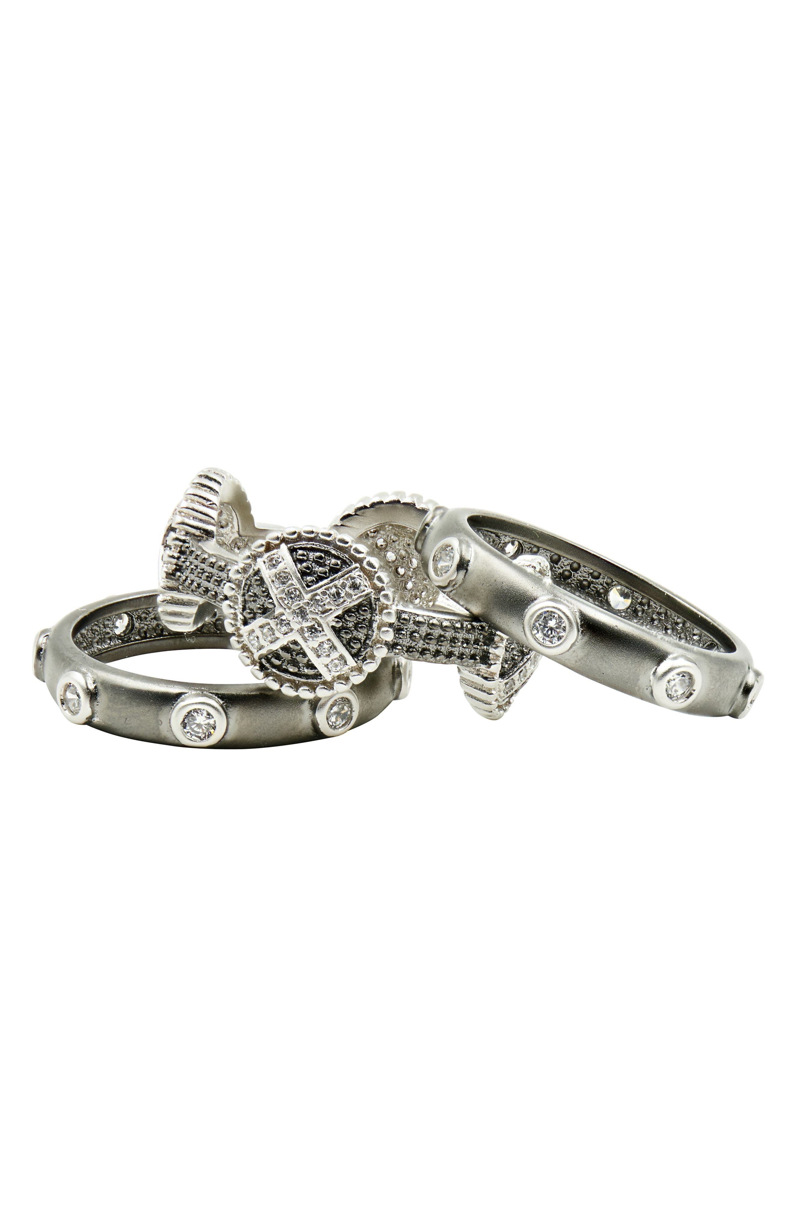 Industrial Finish Stackable Rings,                         Main,                         color, Silver/ Black Rhodium
