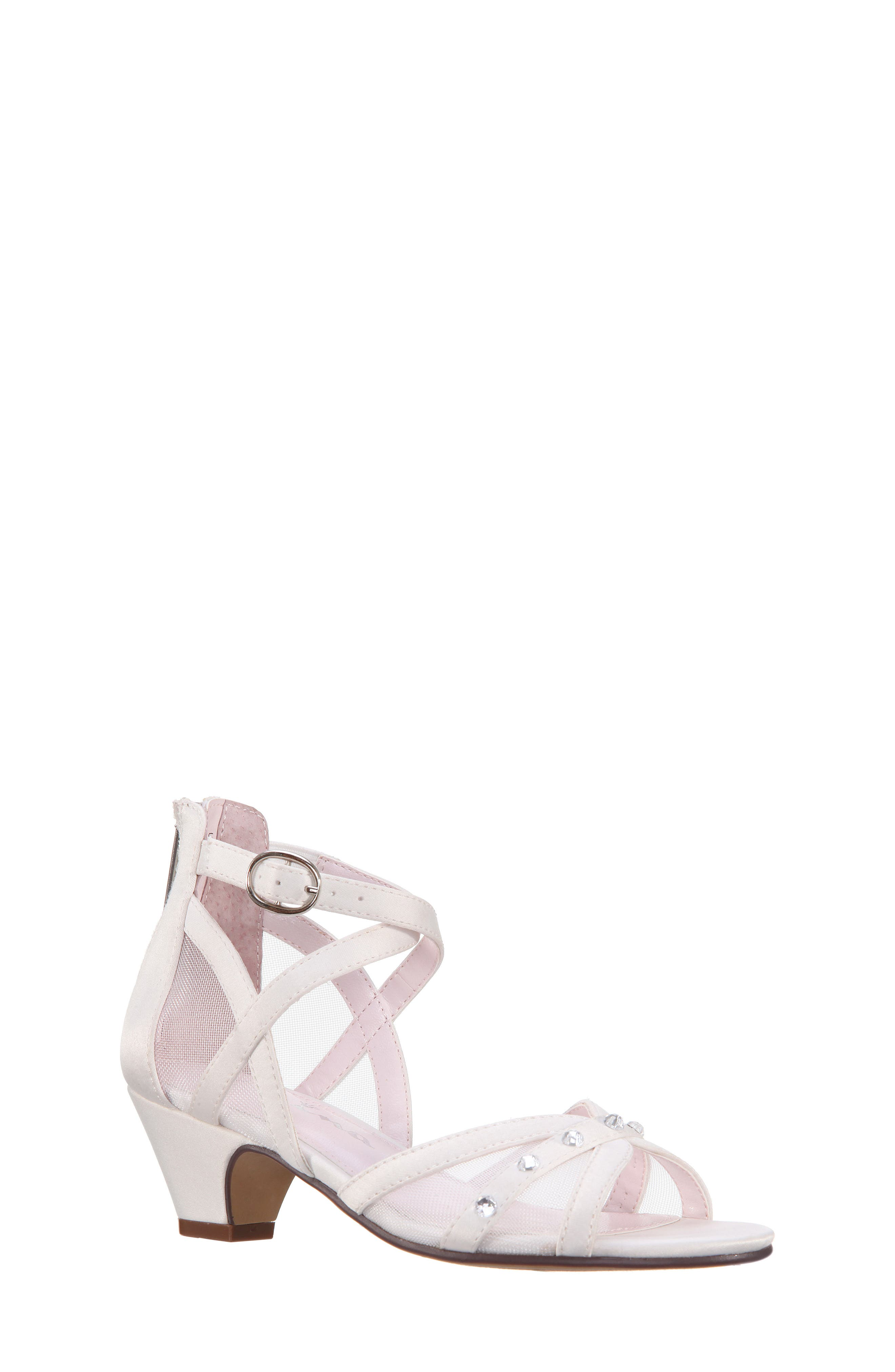 Betty Sandal,                         Main,                         color, White Shimmer Fabric
