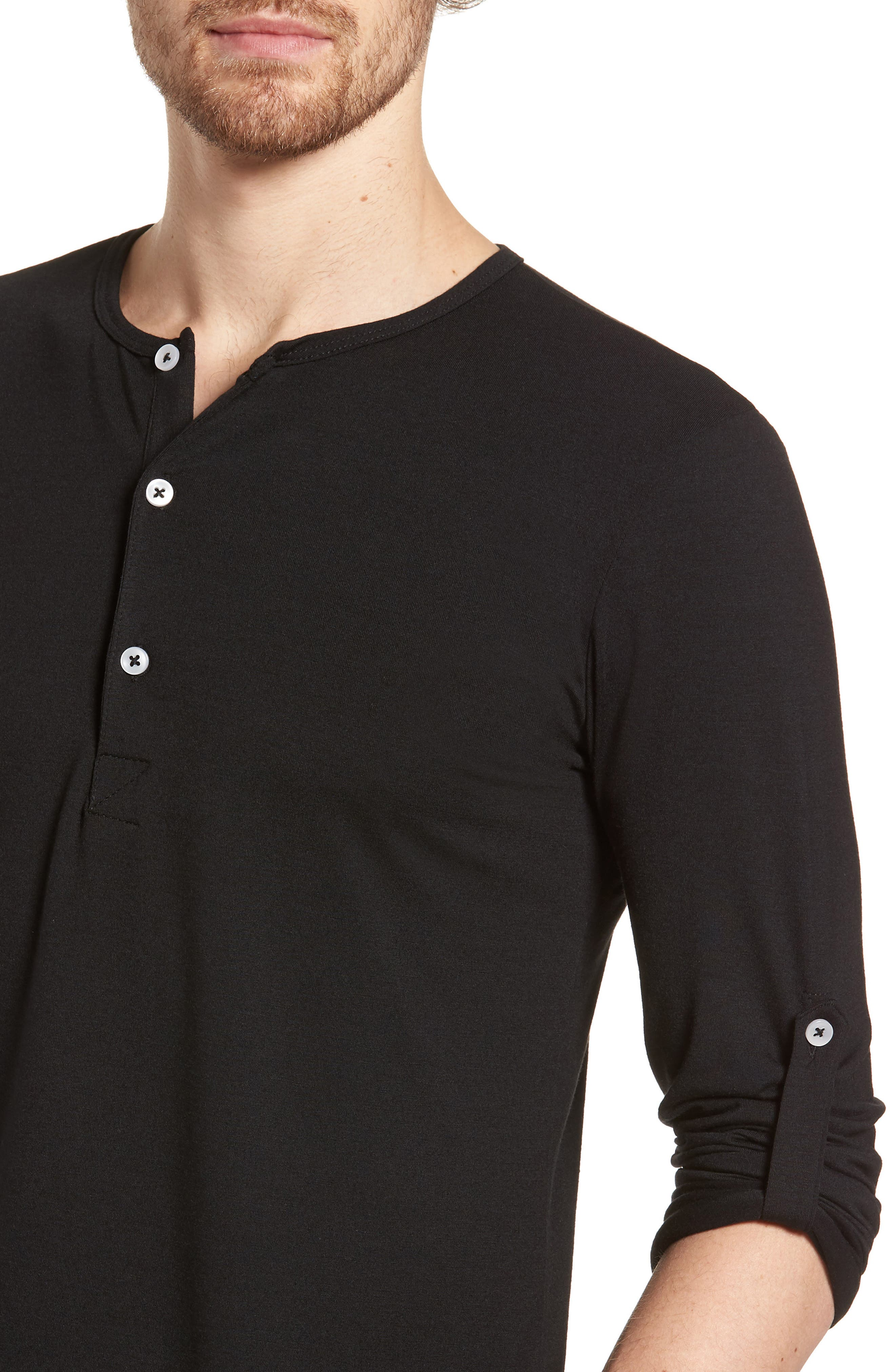 Mizzen Henley,                             Alternate thumbnail 4, color,                             Black / Black
