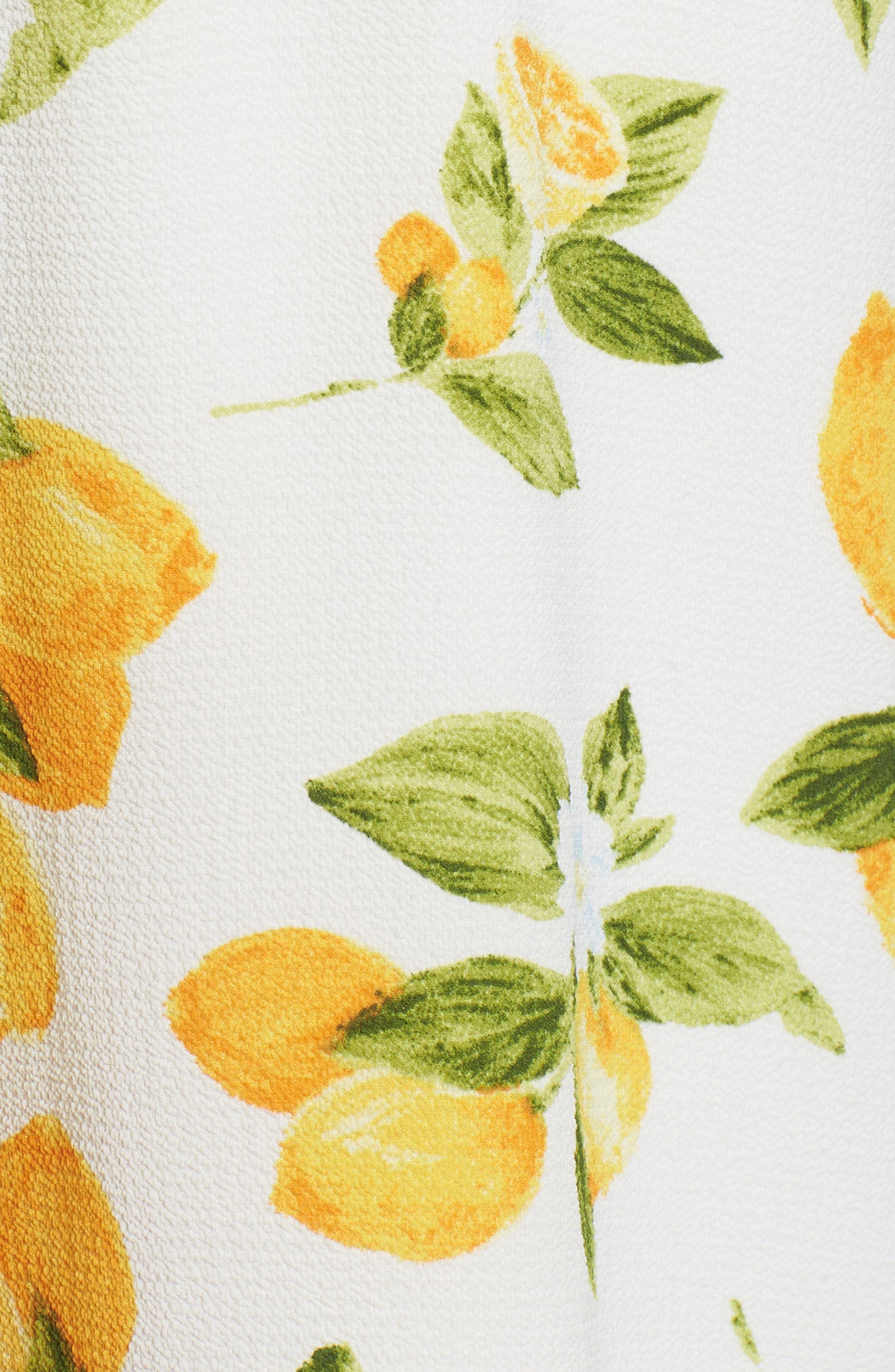 Strapless Tie Front Jumpsuit,                             Alternate thumbnail 5, color,                             Lemon Print