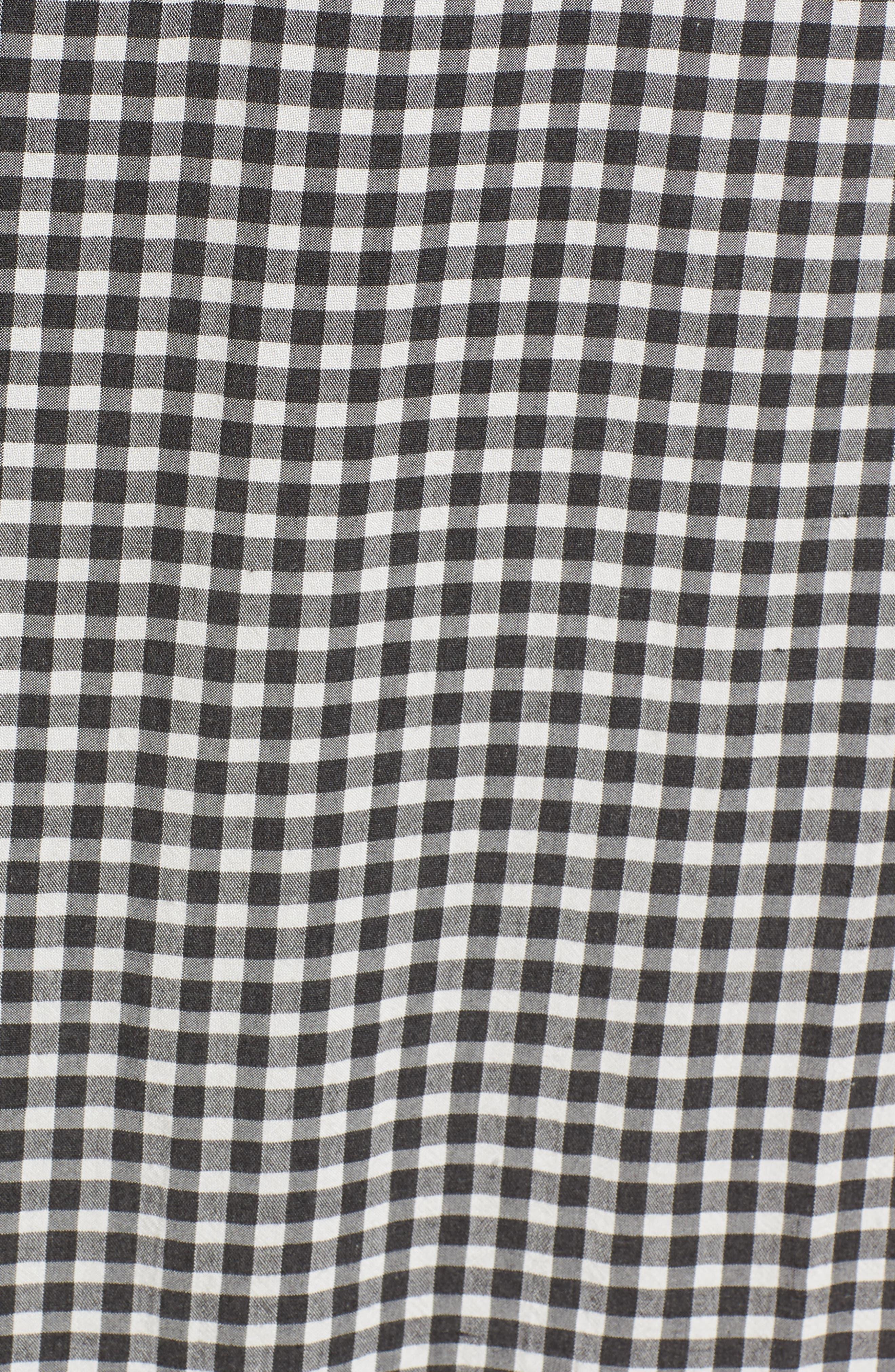Embroidered Sleeve Shift Dress,                             Alternate thumbnail 7, color,                             Black-White Gingham