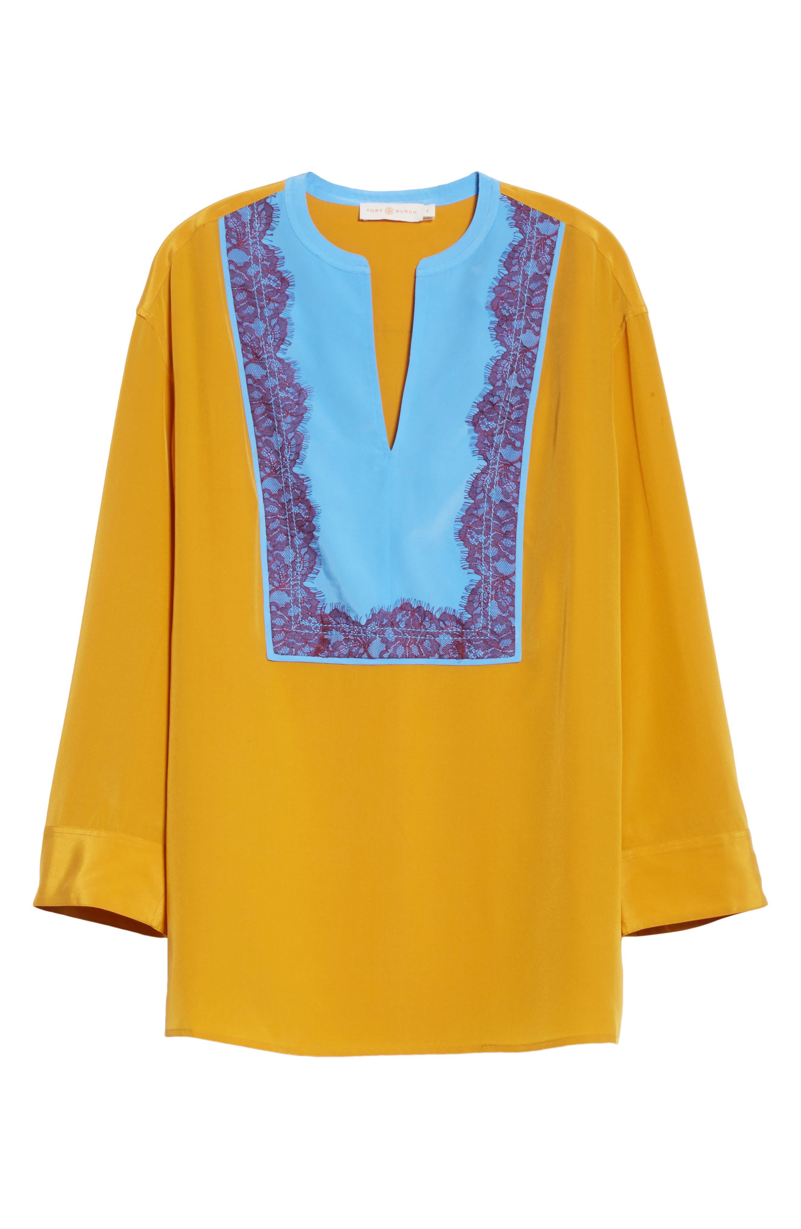 Colorblock Silk Tunic,                             Alternate thumbnail 6, color,                             Golden Age