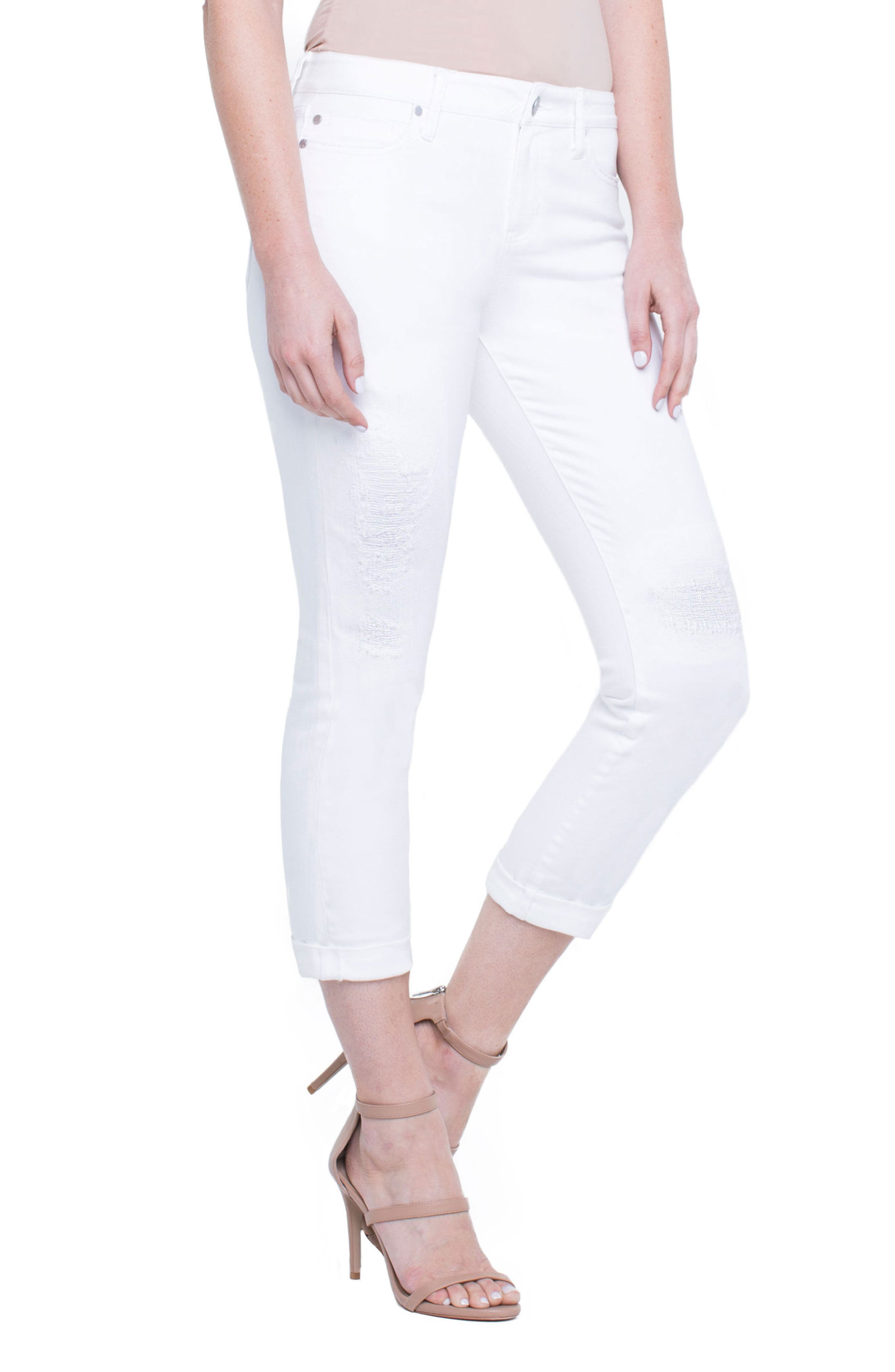 Marley Girlfriend Jeans,                             Alternate thumbnail 4, color,                             Luna White Mended
