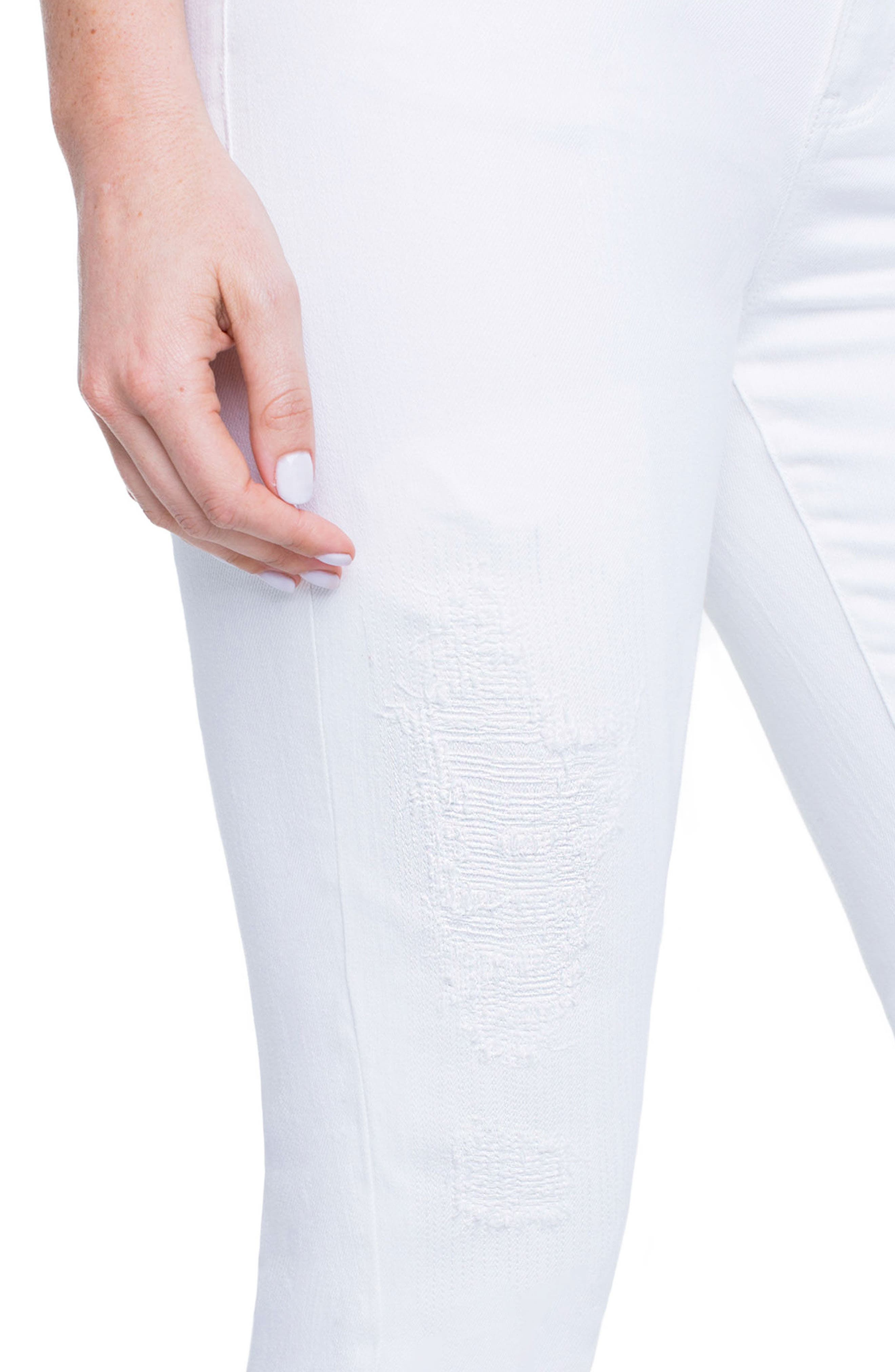 Marley Girlfriend Jeans,                             Alternate thumbnail 5, color,                             Luna White Mended