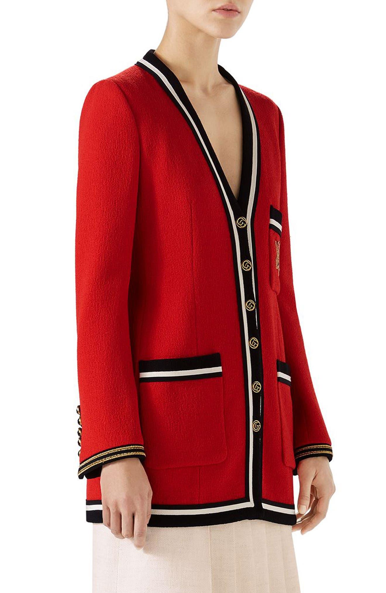 Wool Sable Long Jacket,                             Alternate thumbnail 3, color,                             Renaissance Red/ Multicolor