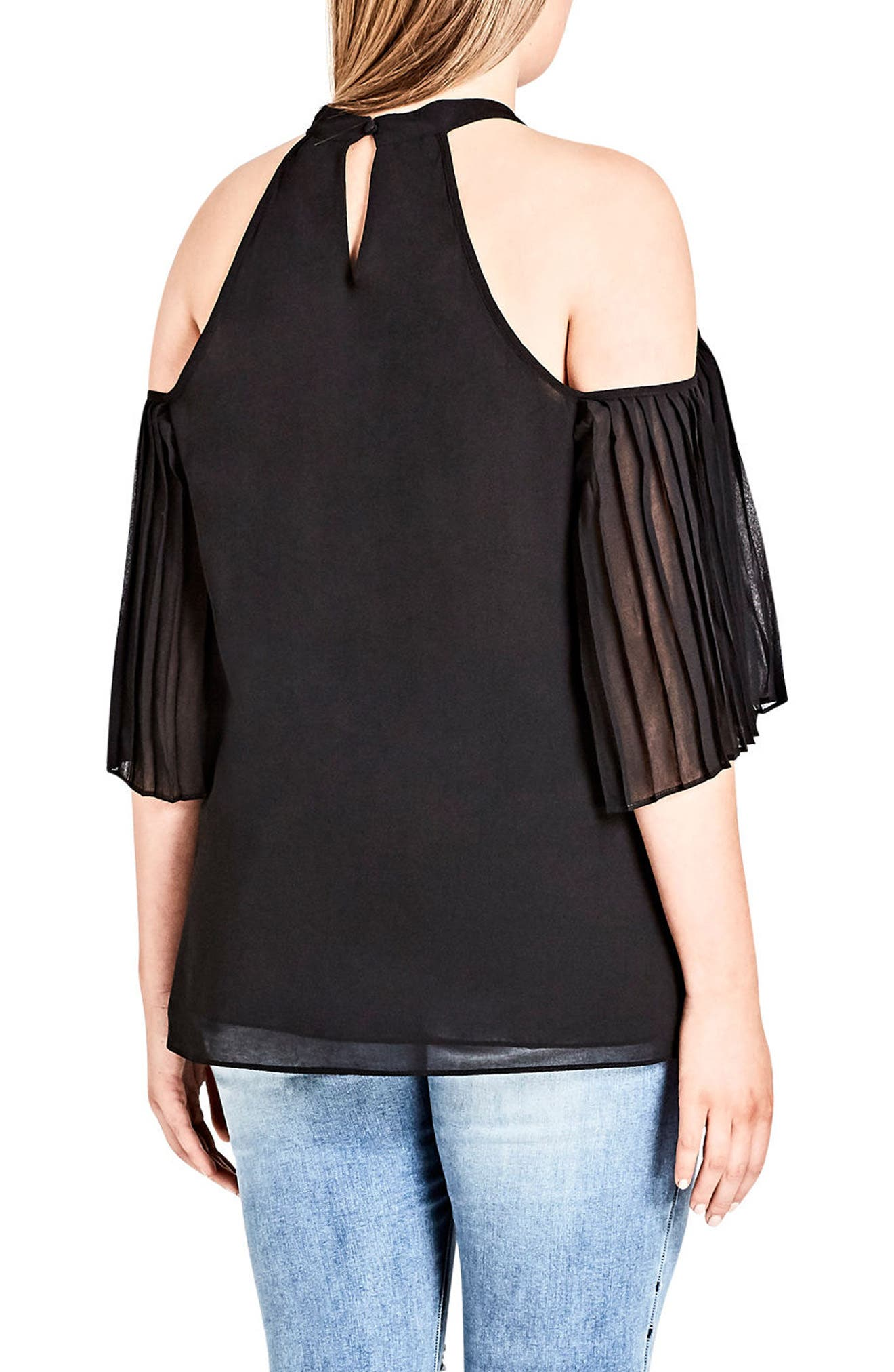 Pleated Cold Shoulder Top,                             Alternate thumbnail 2, color,                             Black