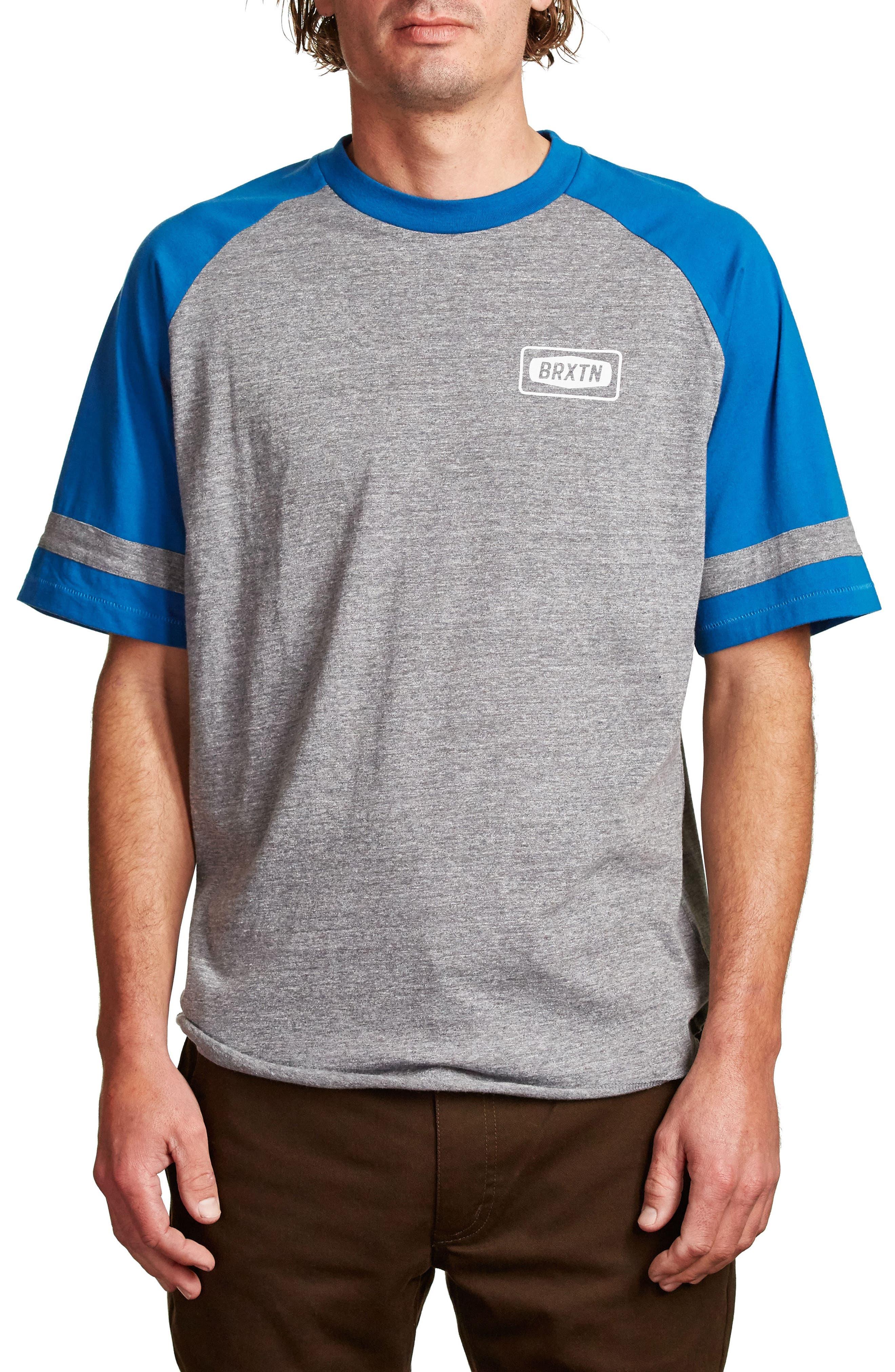 Rockford Baseball T-Shirt,                         Main,                         color, Heather Grey/ Royal