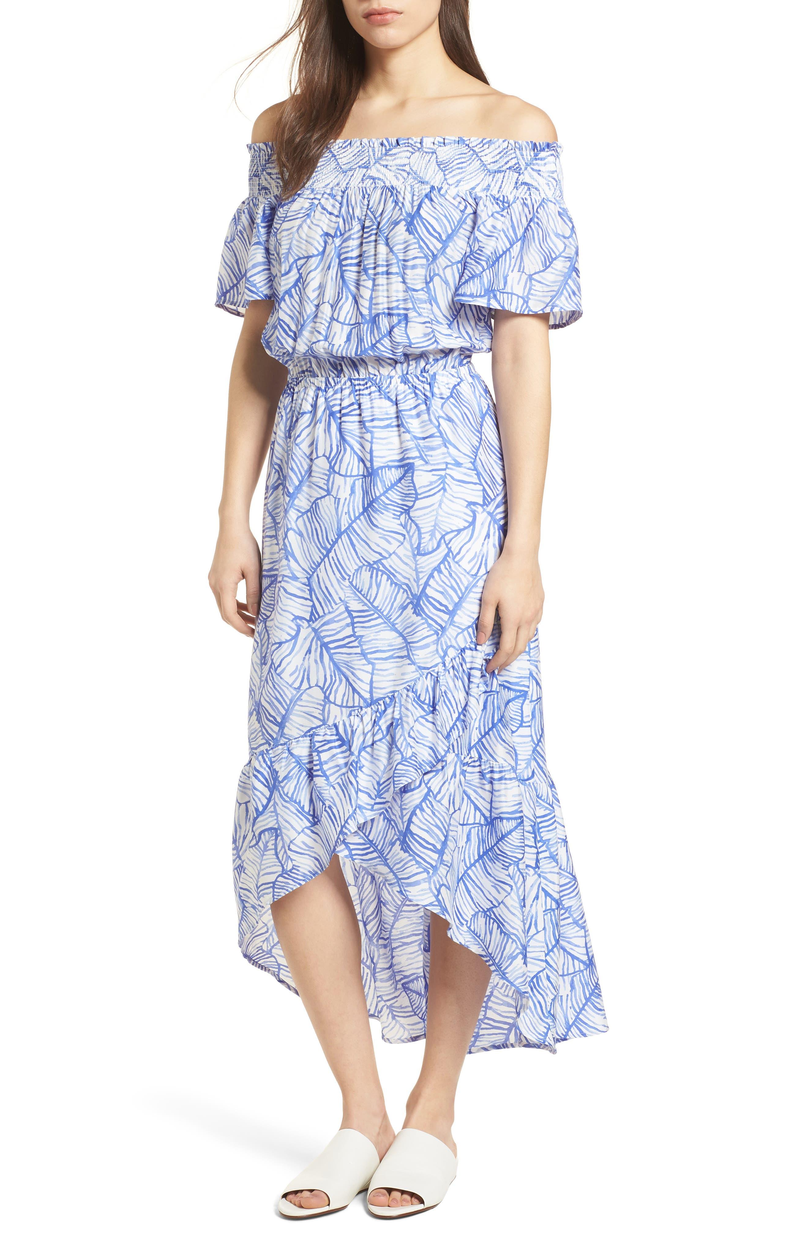 Banana Leaf High/Low Maxi Dress,                             Main thumbnail 1, color,                             Marlin