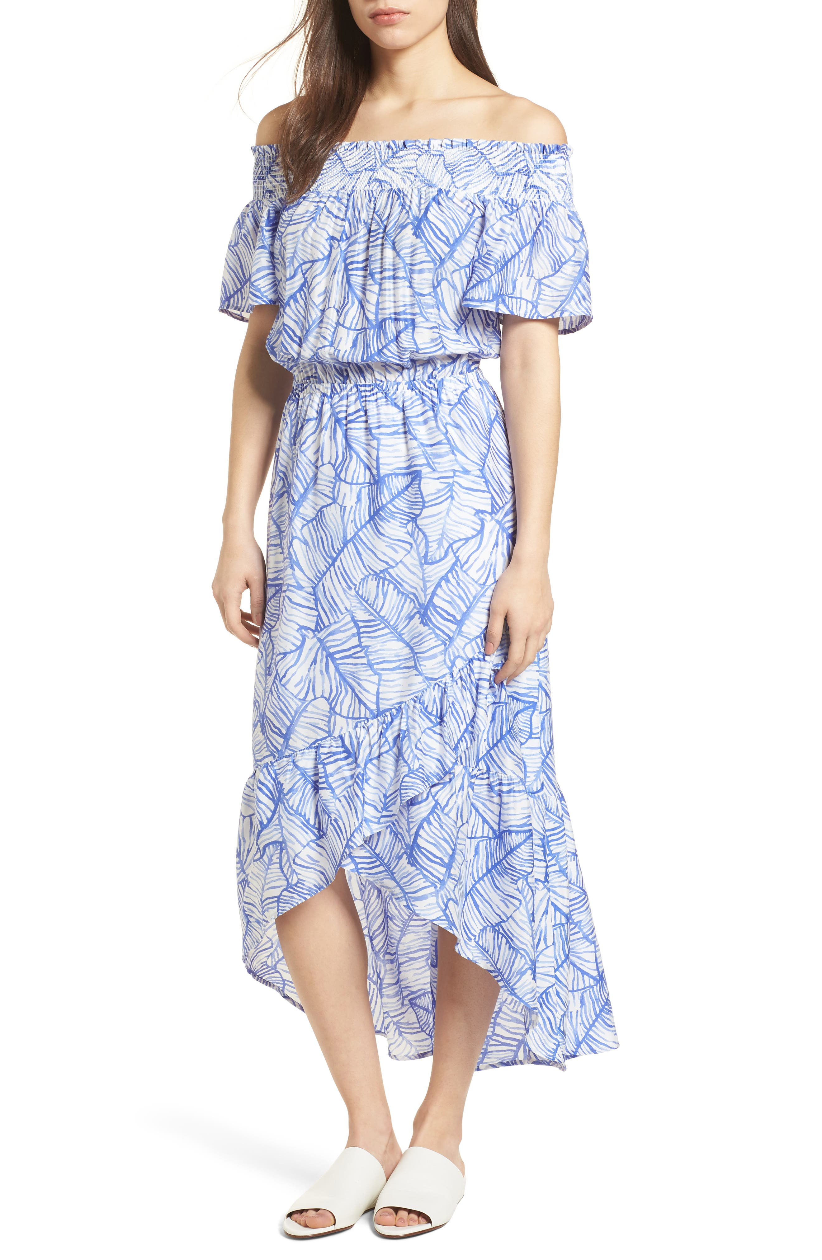 Banana Leaf High/Low Maxi Dress,                         Main,                         color, Marlin