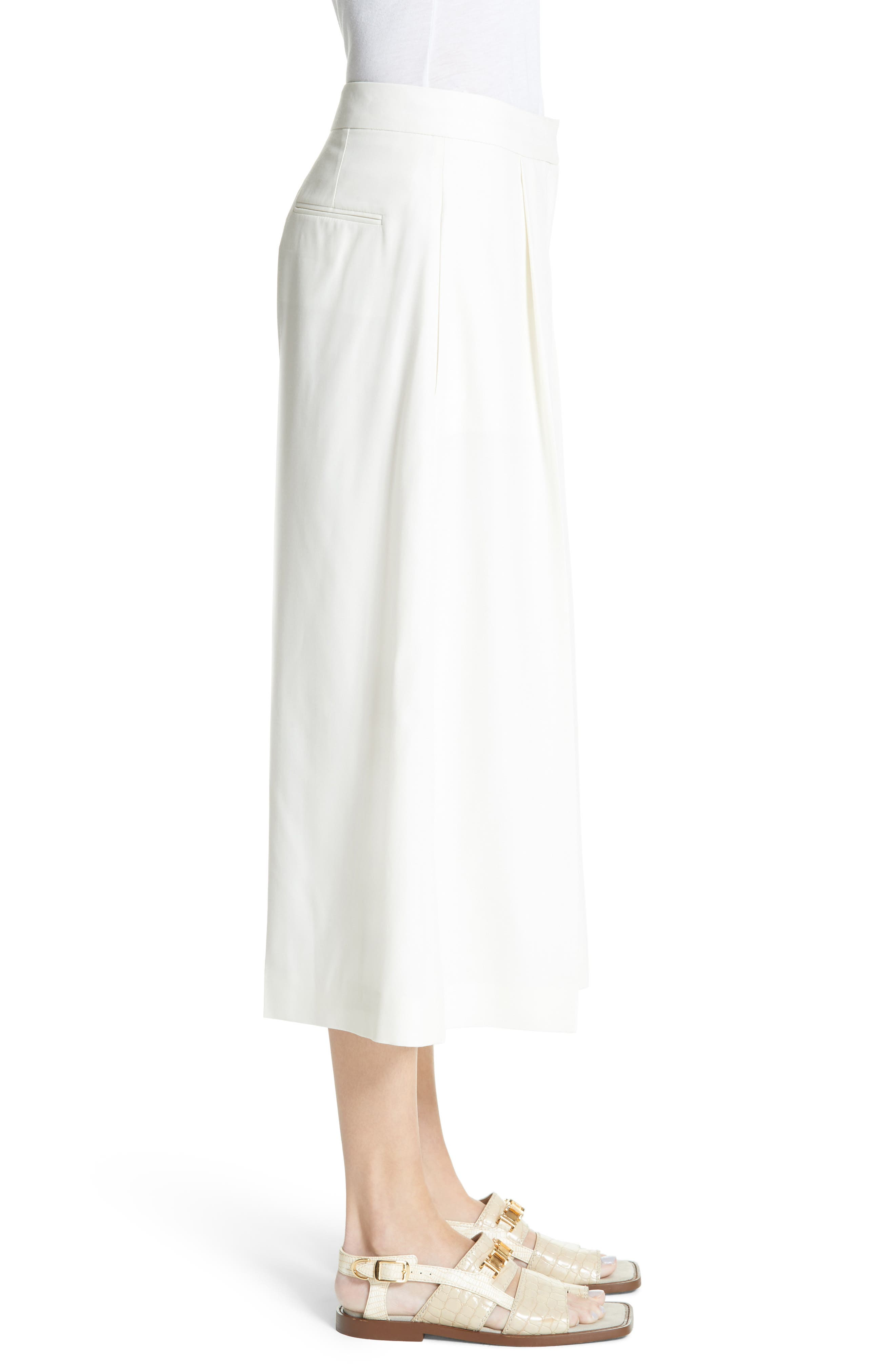 Wool Twill Culottes,                             Alternate thumbnail 4, color,                             Cream