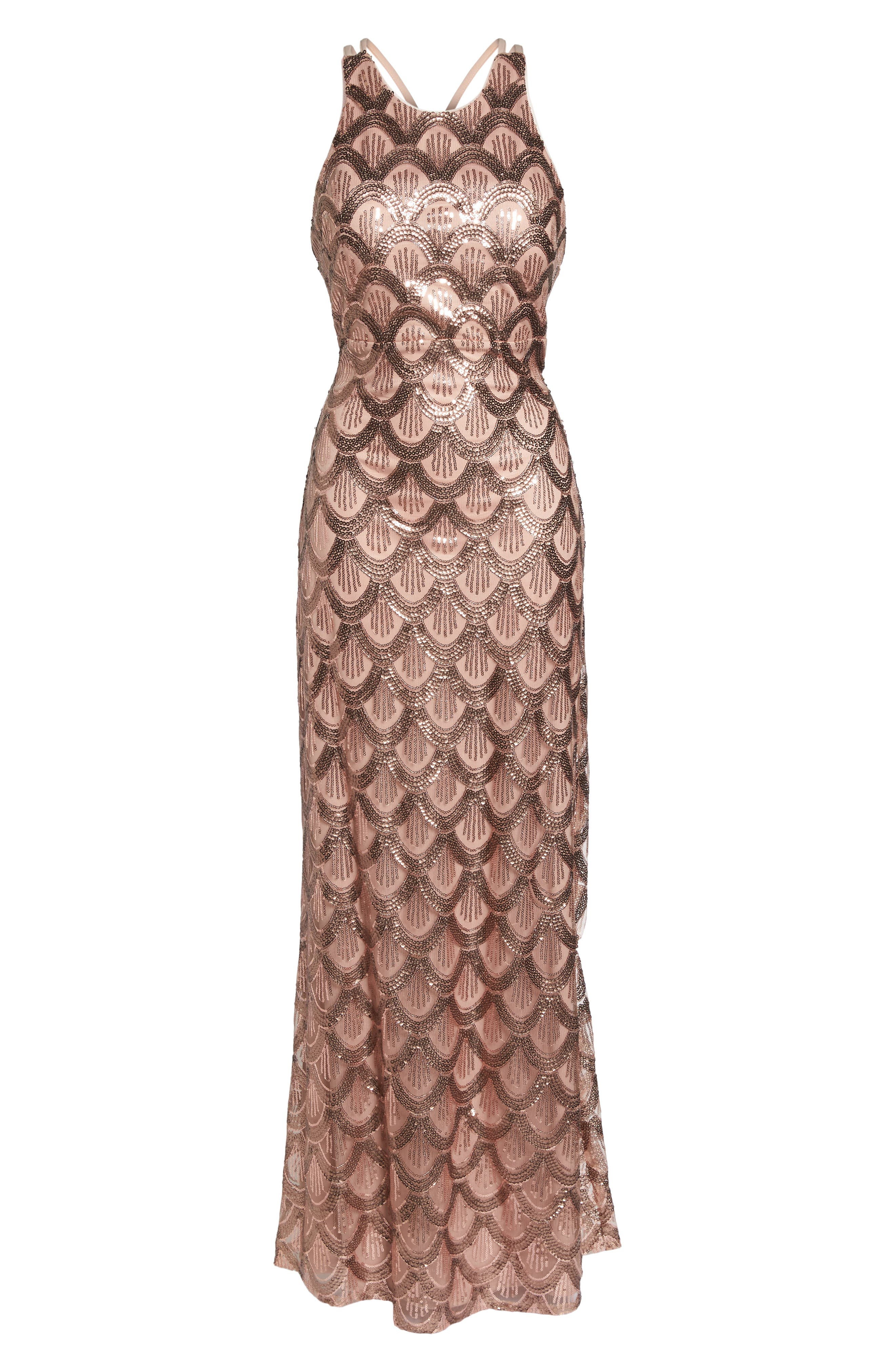 Strappy Back Sequin Gown,                             Alternate thumbnail 6, color,                             Rose Gold