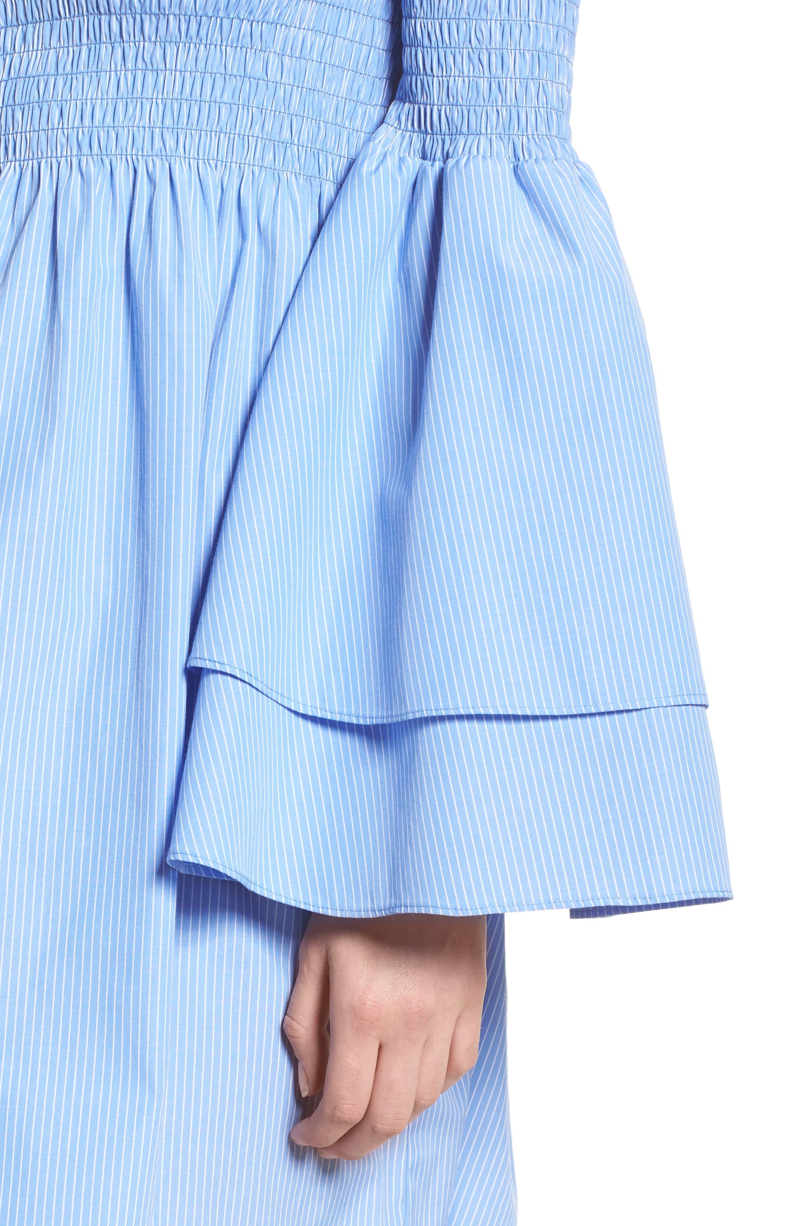 Smocked Off the Shoulder Bell Sleeve Dress,                             Alternate thumbnail 4, color,                             Blue/ White Stripe
