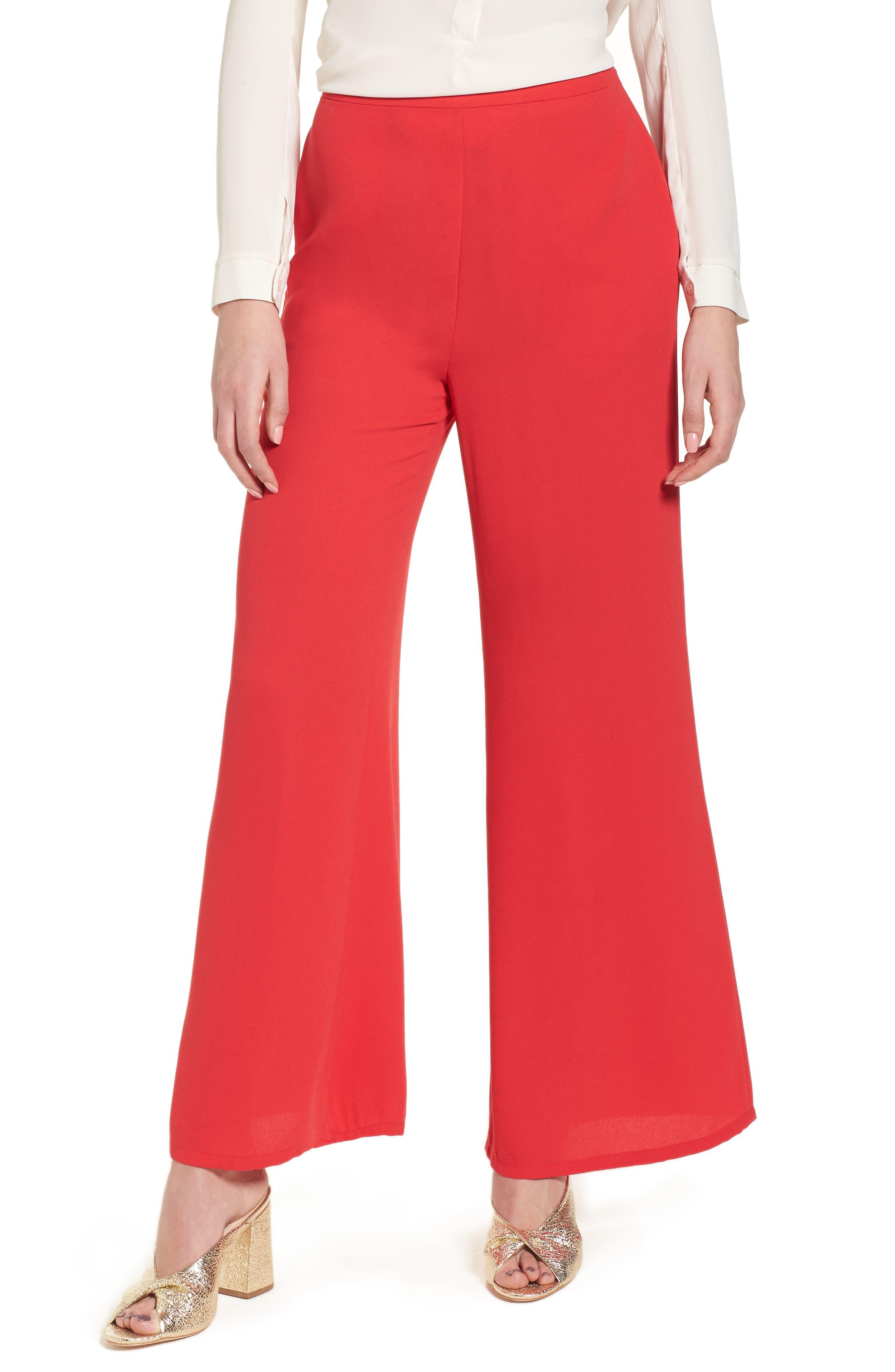 Wide Leg Pants,                         Main,                         color, Red Lipstick
