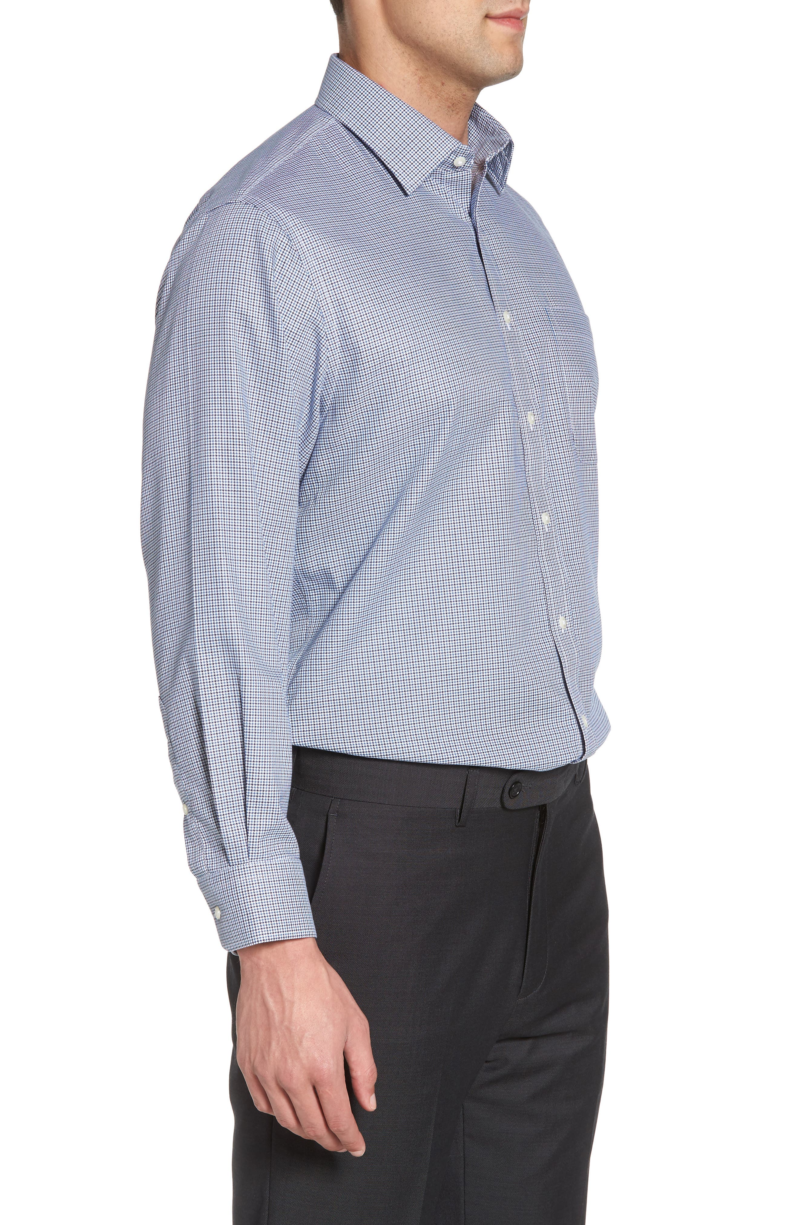 Smartcare<sup>™</sup> Traditional Fit Houndstooth Dress Shirt,                             Alternate thumbnail 4, color,                             Navy Medieval
