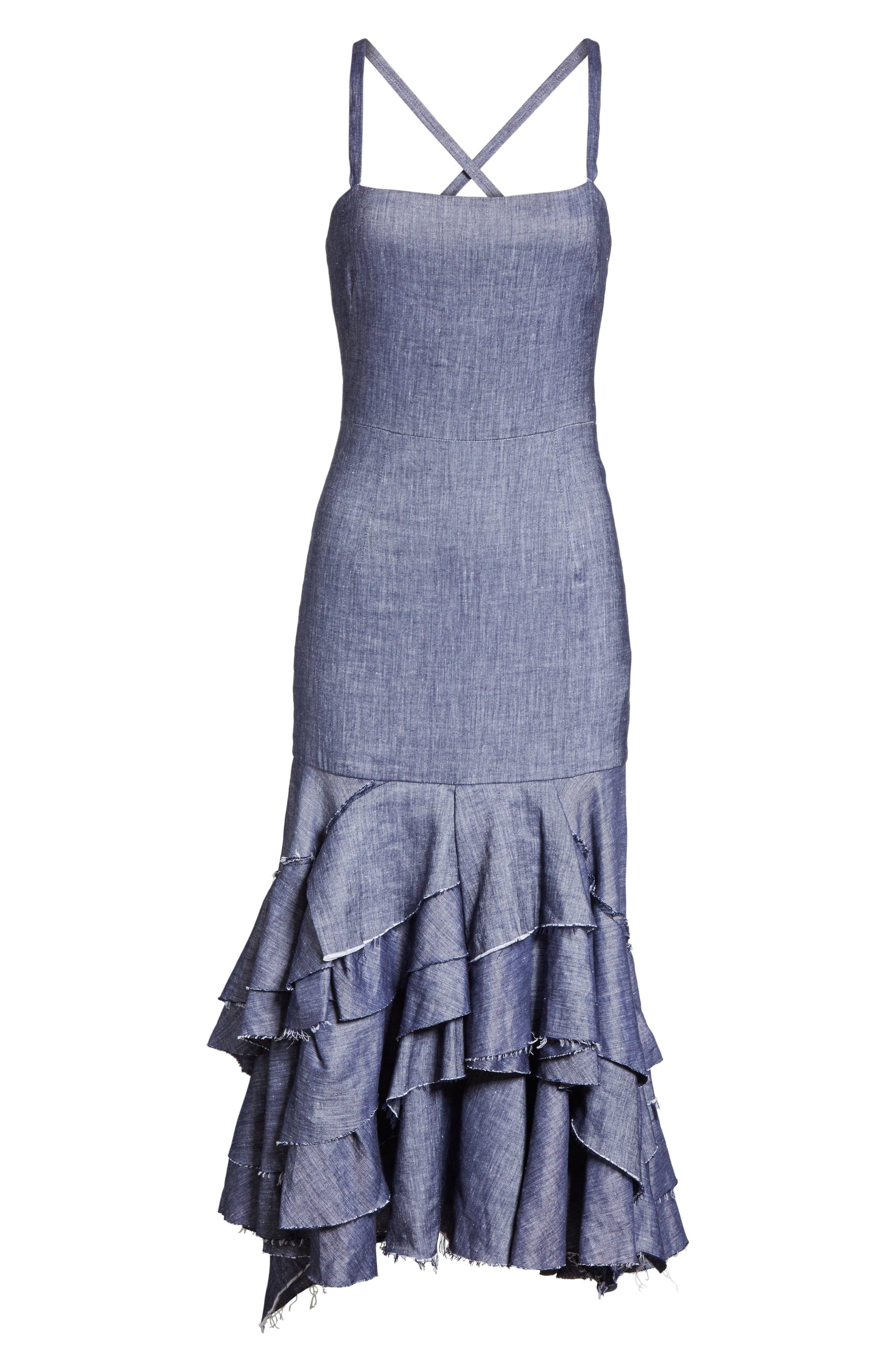 Apron Ruffle Midi Dress,                             Alternate thumbnail 6, color,                             Blue
