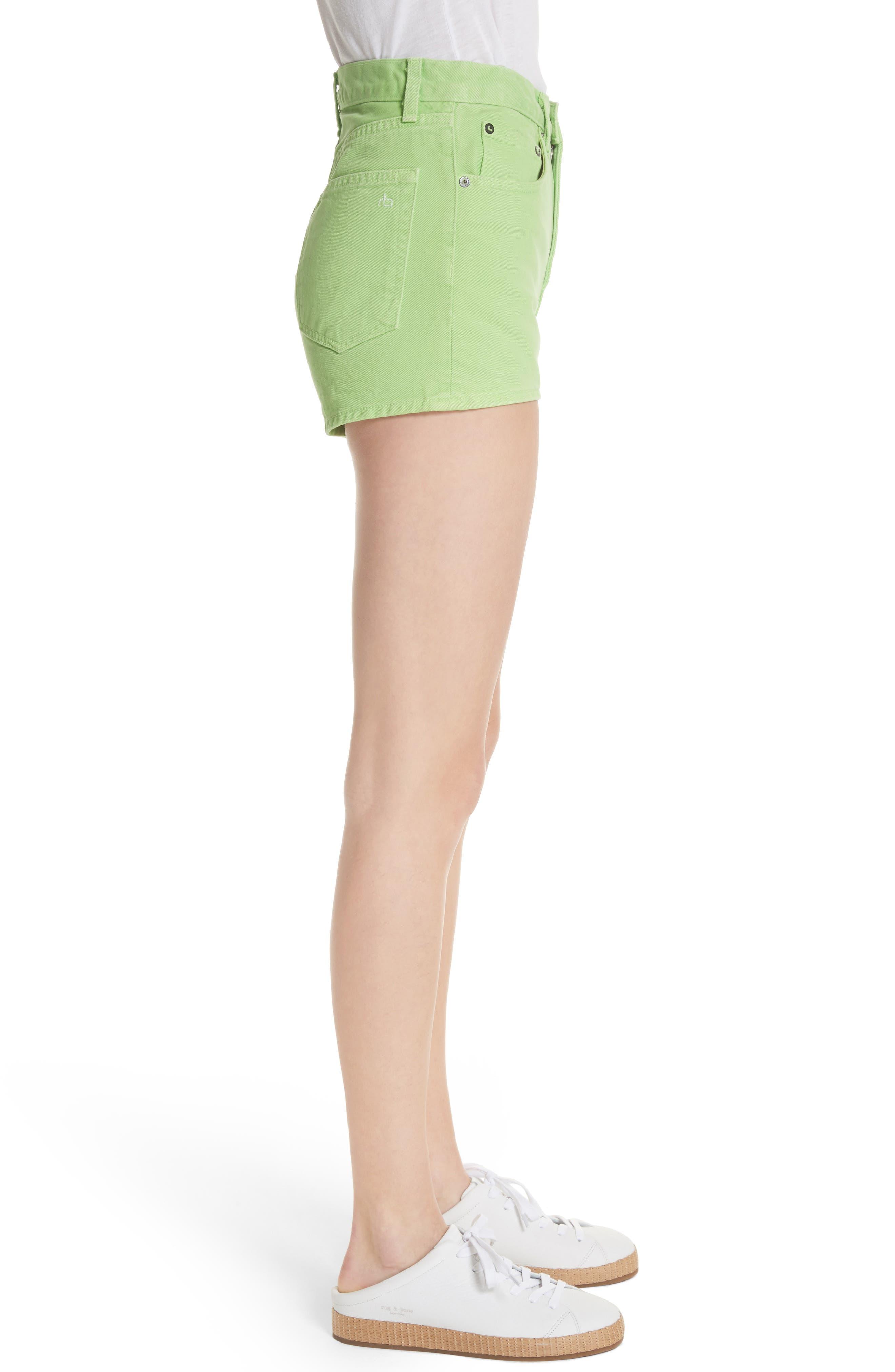 Justine High Waist Denim Shorts,                             Alternate thumbnail 3, color,                             Lime