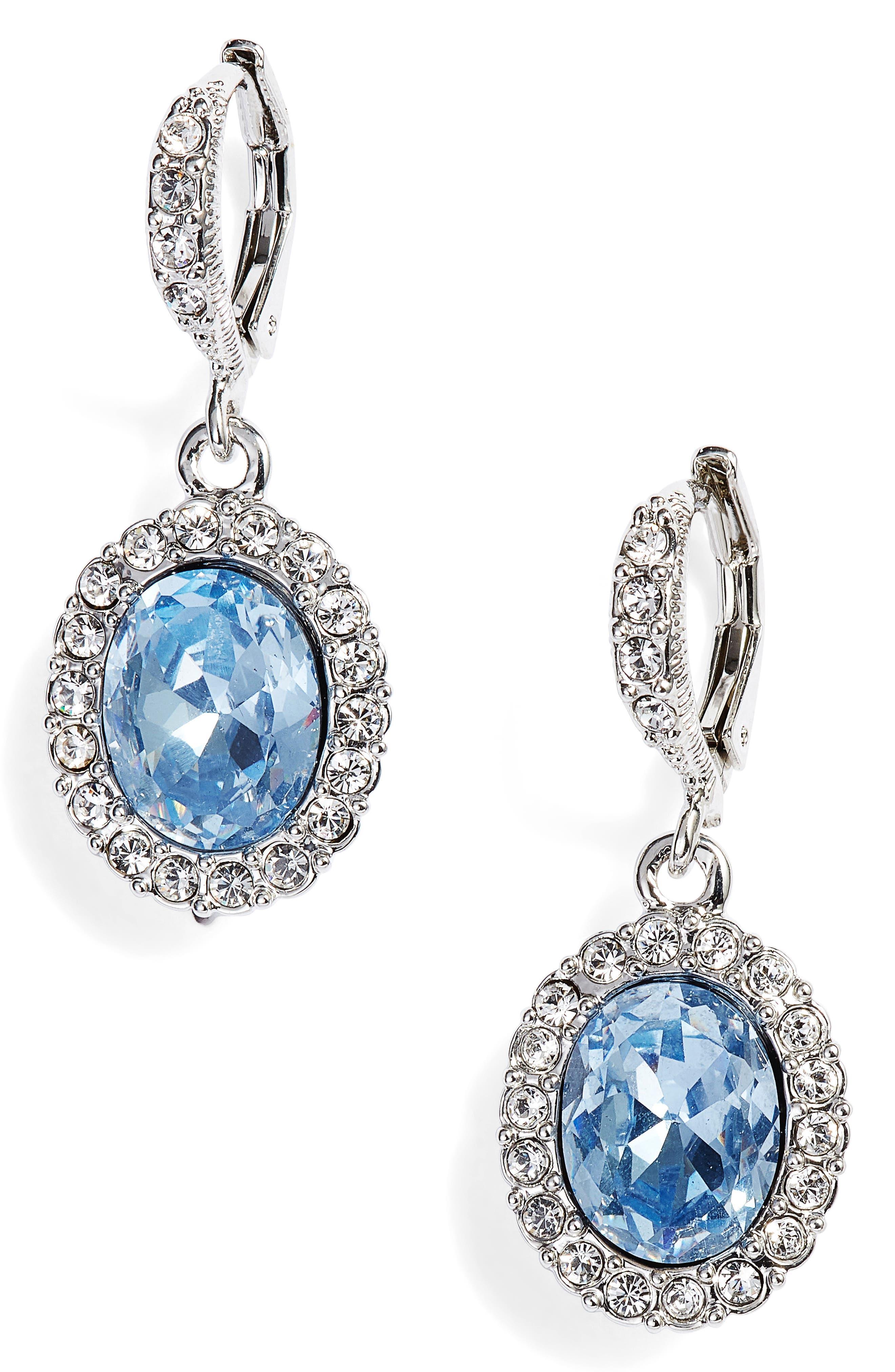 Pavé Drop Earrings,                             Main thumbnail 1, color,                             Silver/ Sapphire/ Crystal