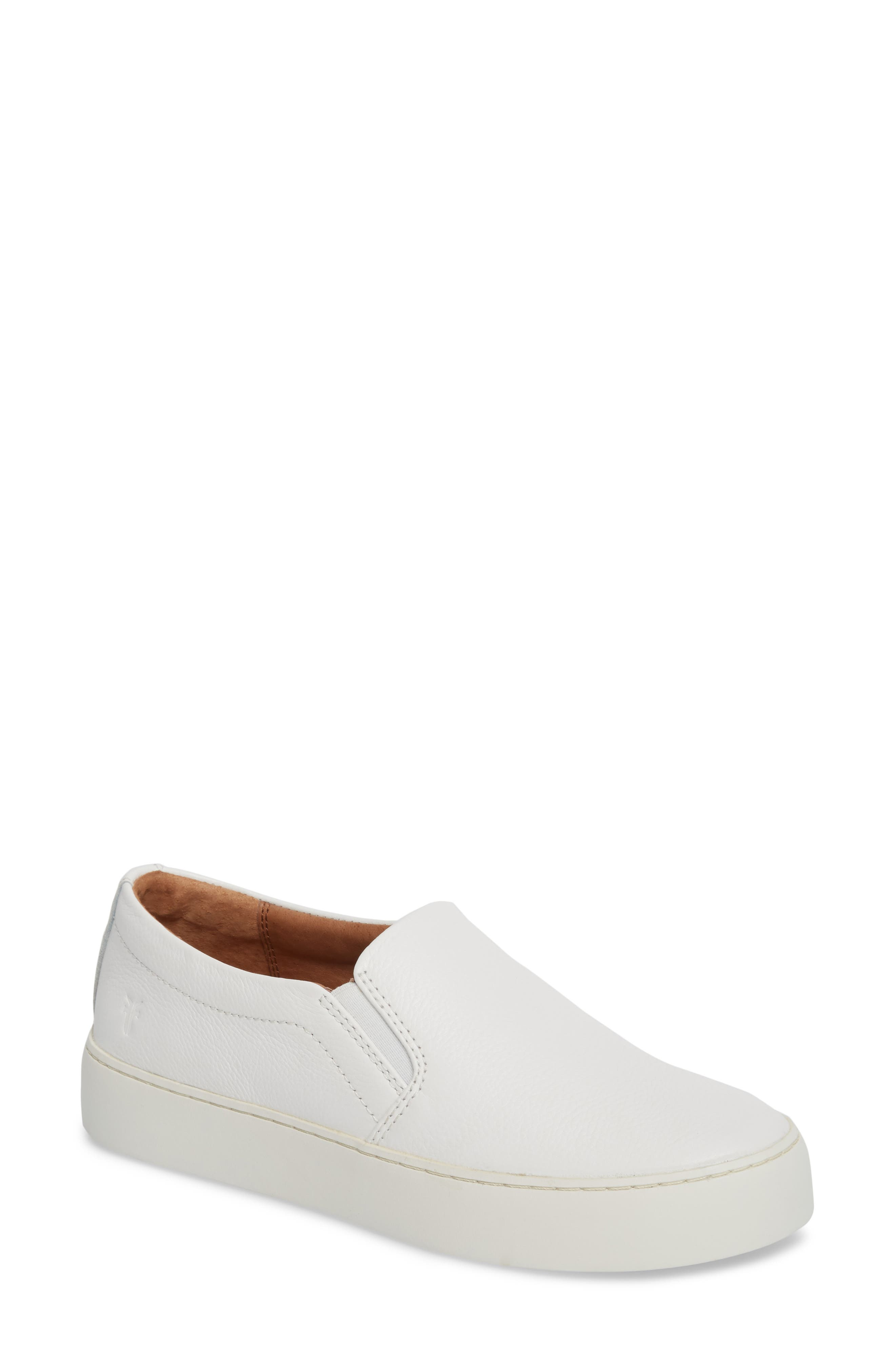 Lena Slip-On Sneaker,                             Main thumbnail 1, color,                             White Leather