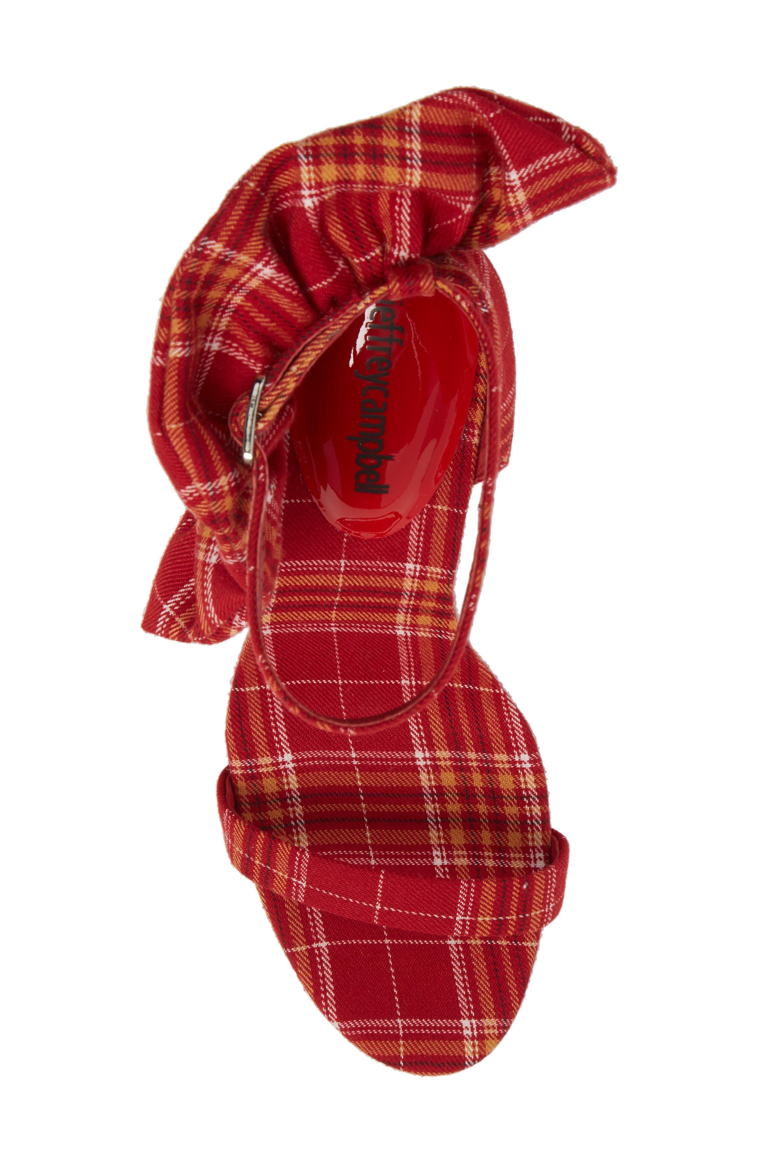 Cheshire Ruffle Sandal,                             Alternate thumbnail 5, color,                             Red Plaid Fabric