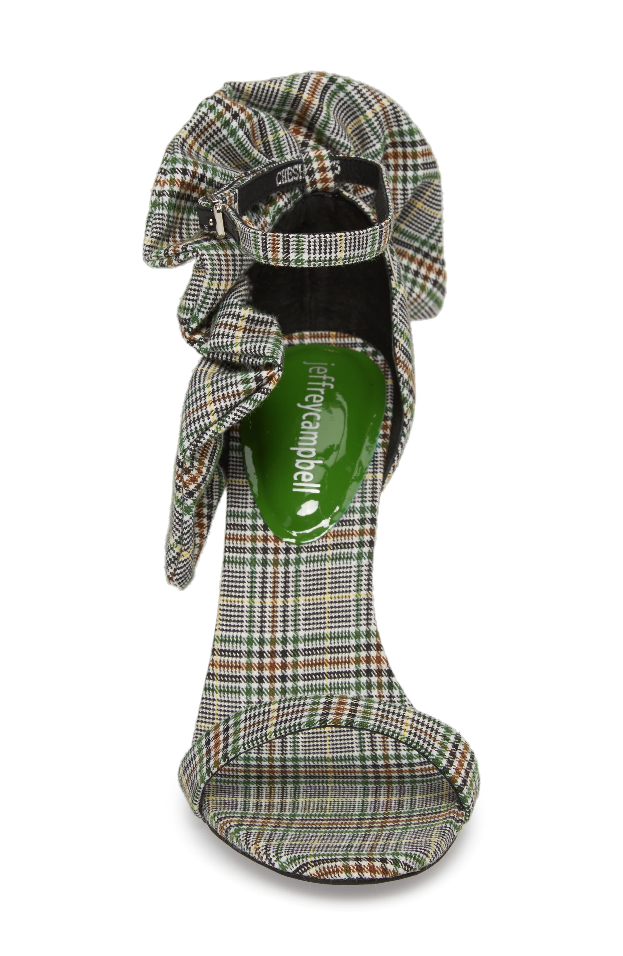 Cheshire Ruffle Sandal,                             Alternate thumbnail 3, color,                             Black/ White/ Green Fabric