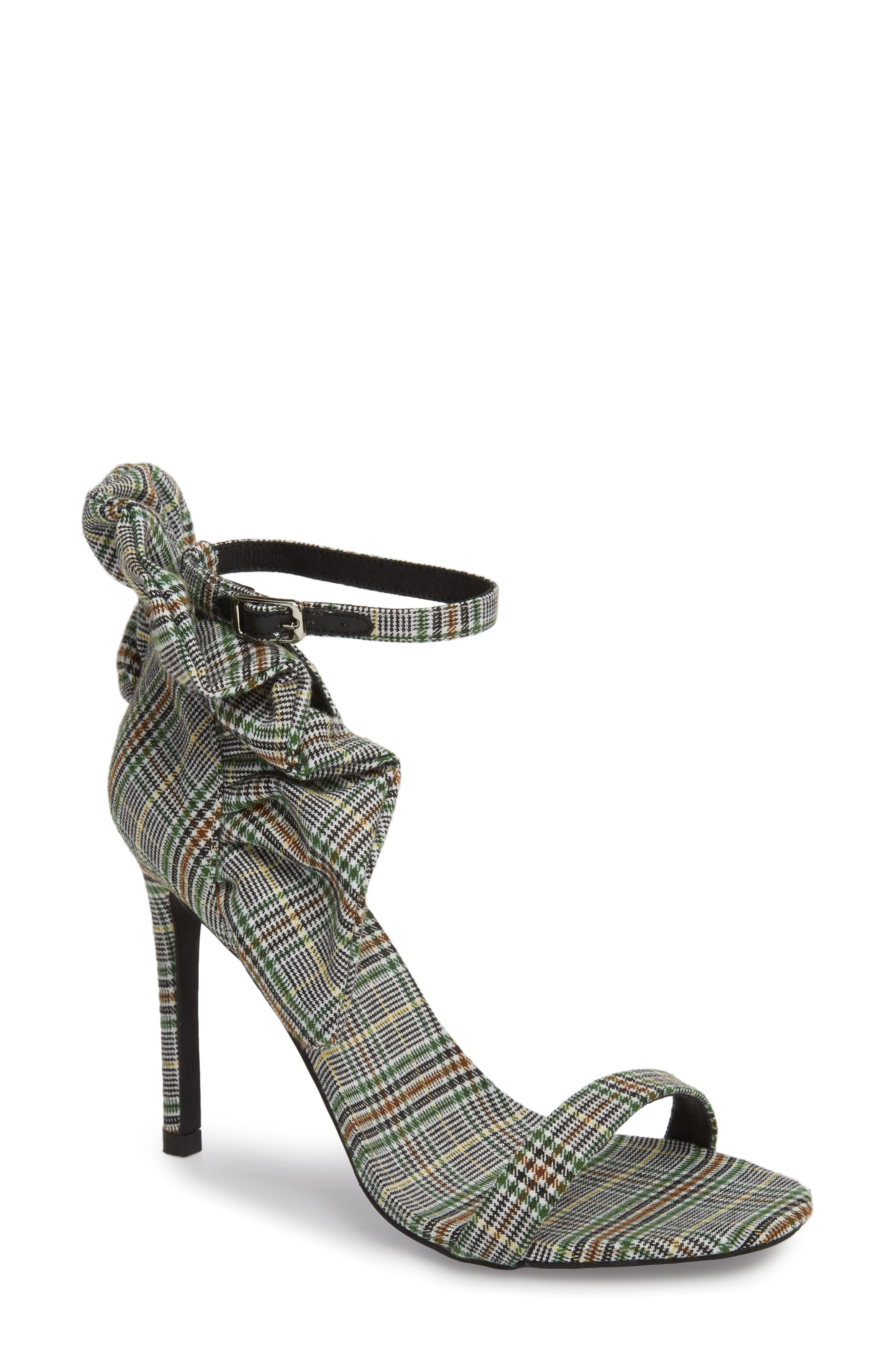 Cheshire Ruffle Sandal,                             Main thumbnail 1, color,                             Black/ White/ Green Fabric