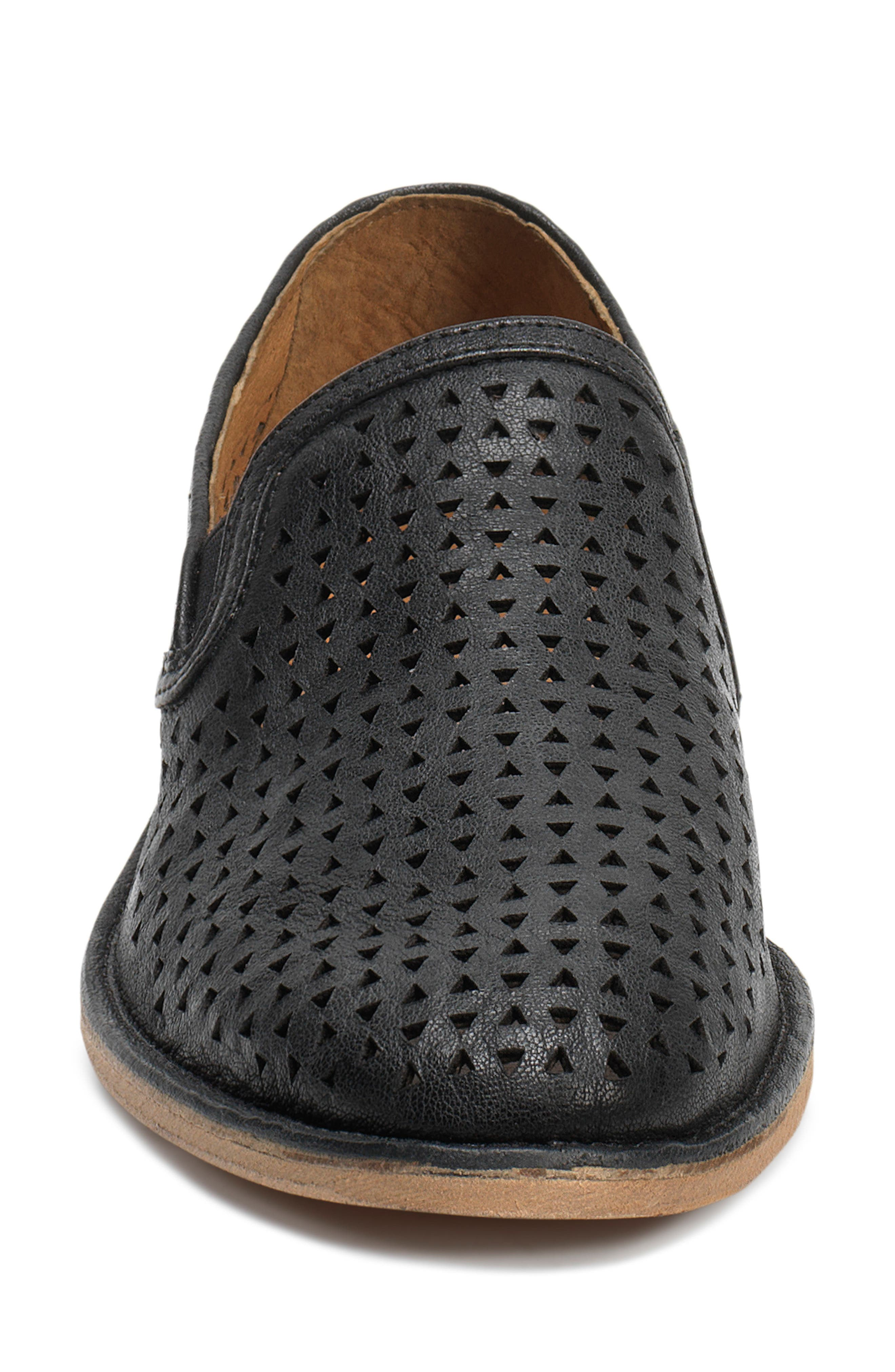 'Ali' Perforated Loafer,                             Alternate thumbnail 4, color,                             Black Leather